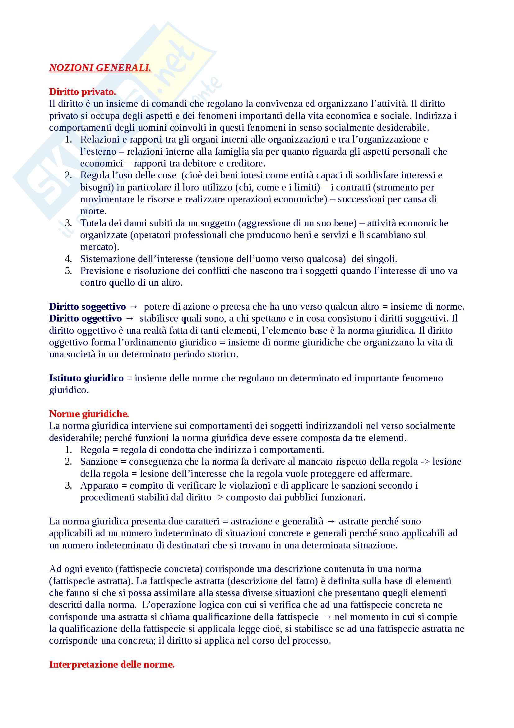 Riassunto diritto privato 1, libro consigliato Roppo