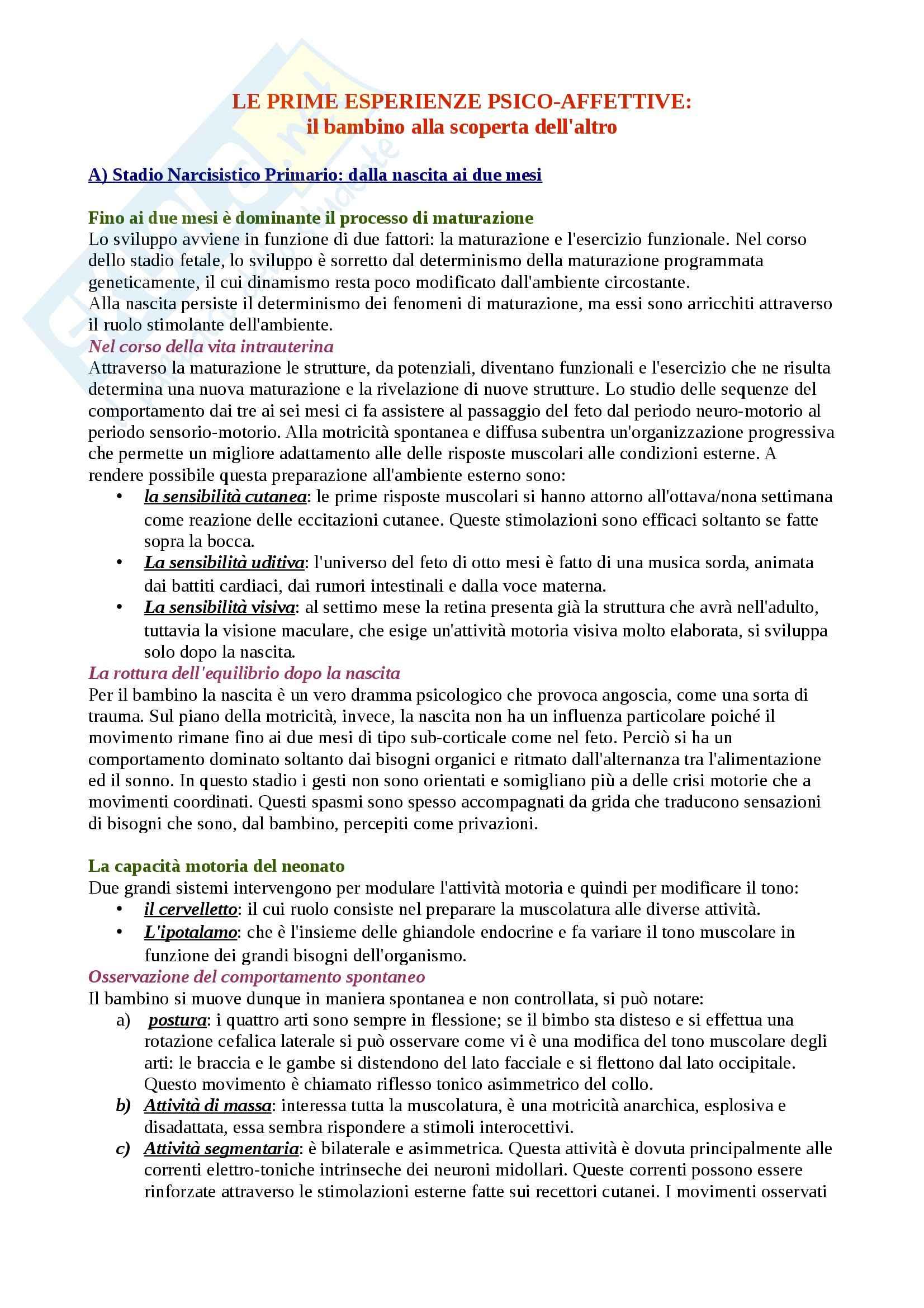 Riassunto esame Movimento Umano, prof. Bensi, libro consigliato Lo Sviluppo Psicomotorio dalla Nascita ai 6 Anni, Le Boulch