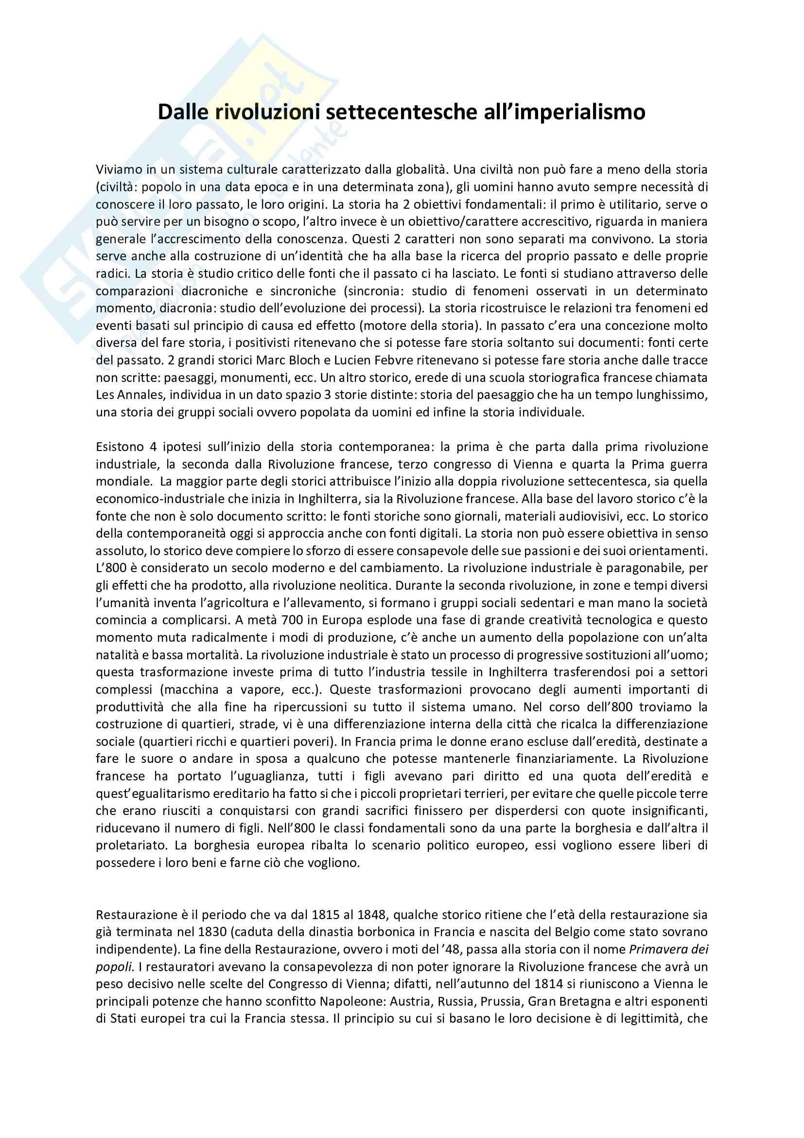 Riassunto esame Storia Contemporanea, prof. Romano, libro consigliato: Dalle rivoluzioni settecentesche all'imperialismo, Banti