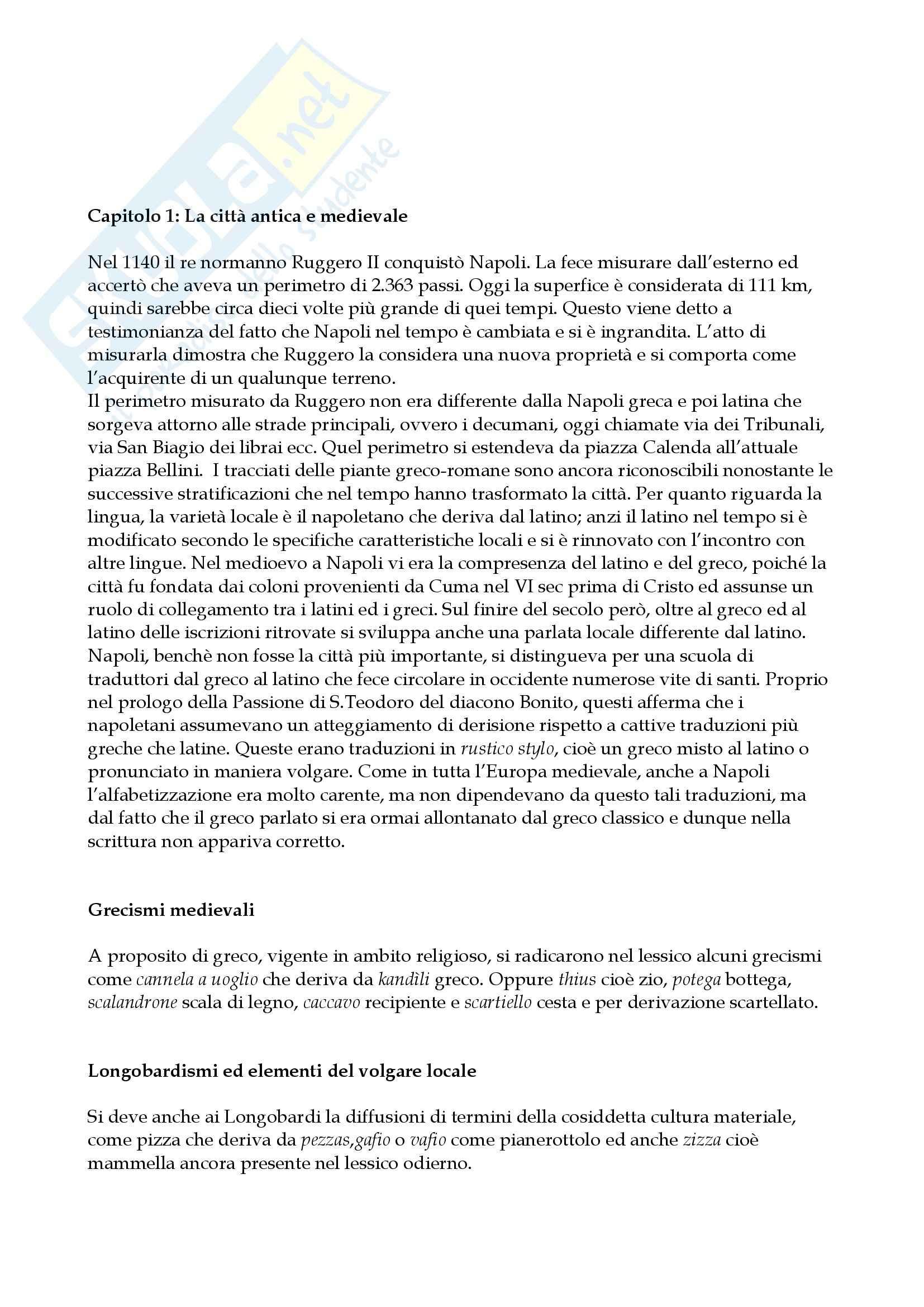 Riassunto esame Storia della lingua italiana, prof. De Blasi, libro consigliato Storia linguistica di Napoli, De Blasi