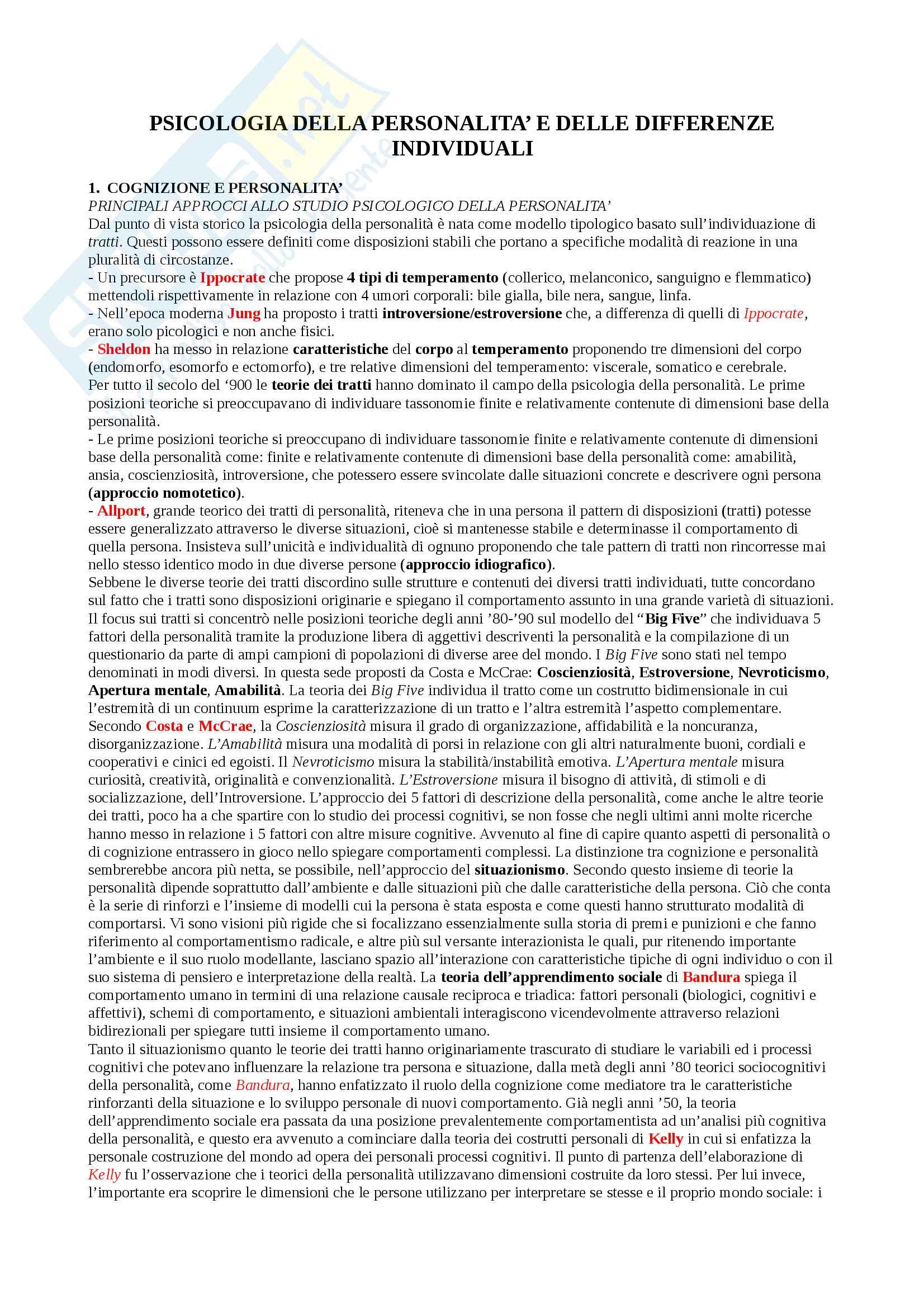 """Riassunto esame Psicologia della personalità e delle differenze individuali, docente De Beni, libro consigliato """"Psicologia della personalità e delle differenze individuali"""", De Beni, Carretti, Moè"""