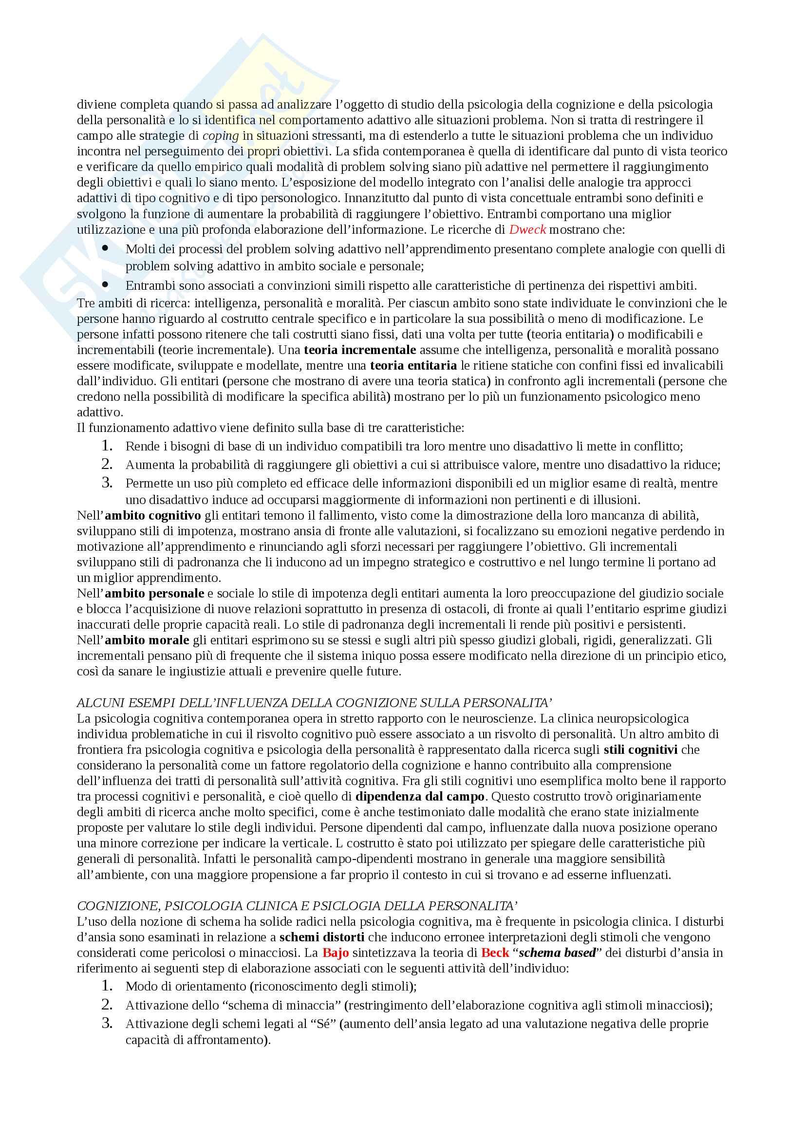 """Riassunto esame Psicologia della personalità e delle differenze individuali, docente De Beni, libro consigliato """"Psicologia della personalità e delle differenze individuali"""", De Beni, Carretti, Moè Pag. 6"""