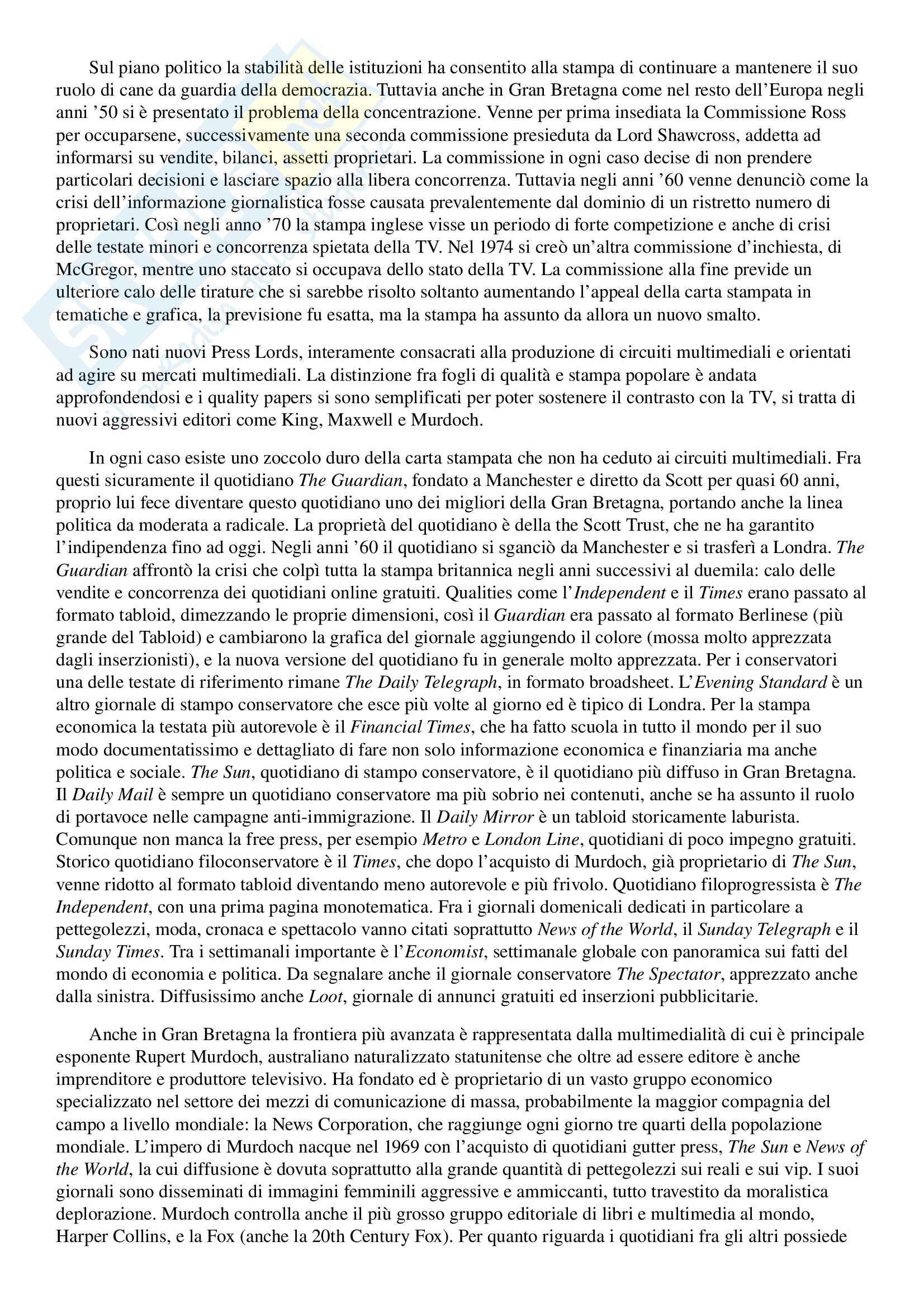 Appunti esame di Storia del Giornalismo, prof Ferrari, libro consigliato 'Gioco e Fuorigioco, Massimo Ferrari' Pag. 41