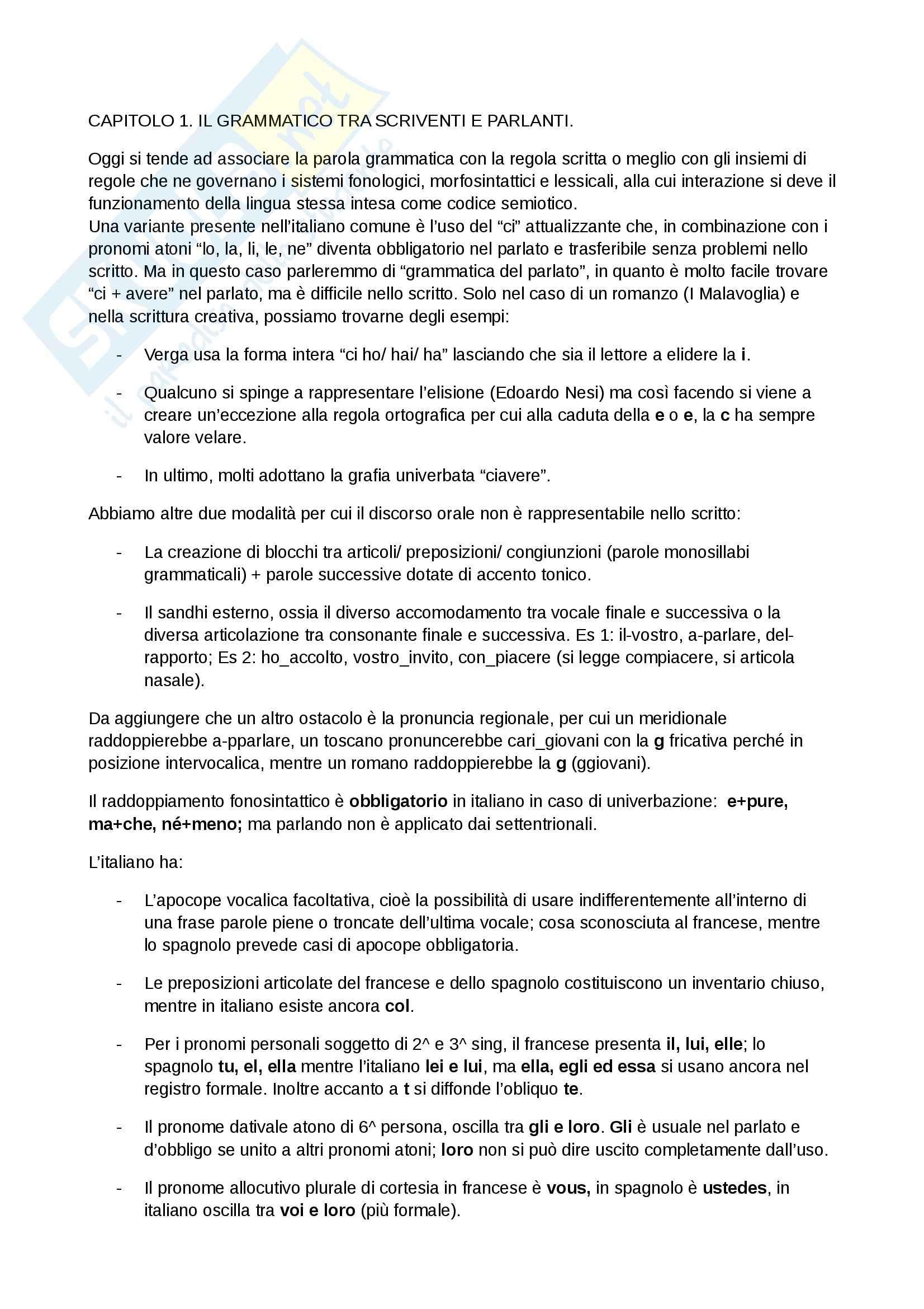 Riassunto esame Storia lingua, prof. Serianni, libro consigliato Prima lezione di grammatica, Serianni