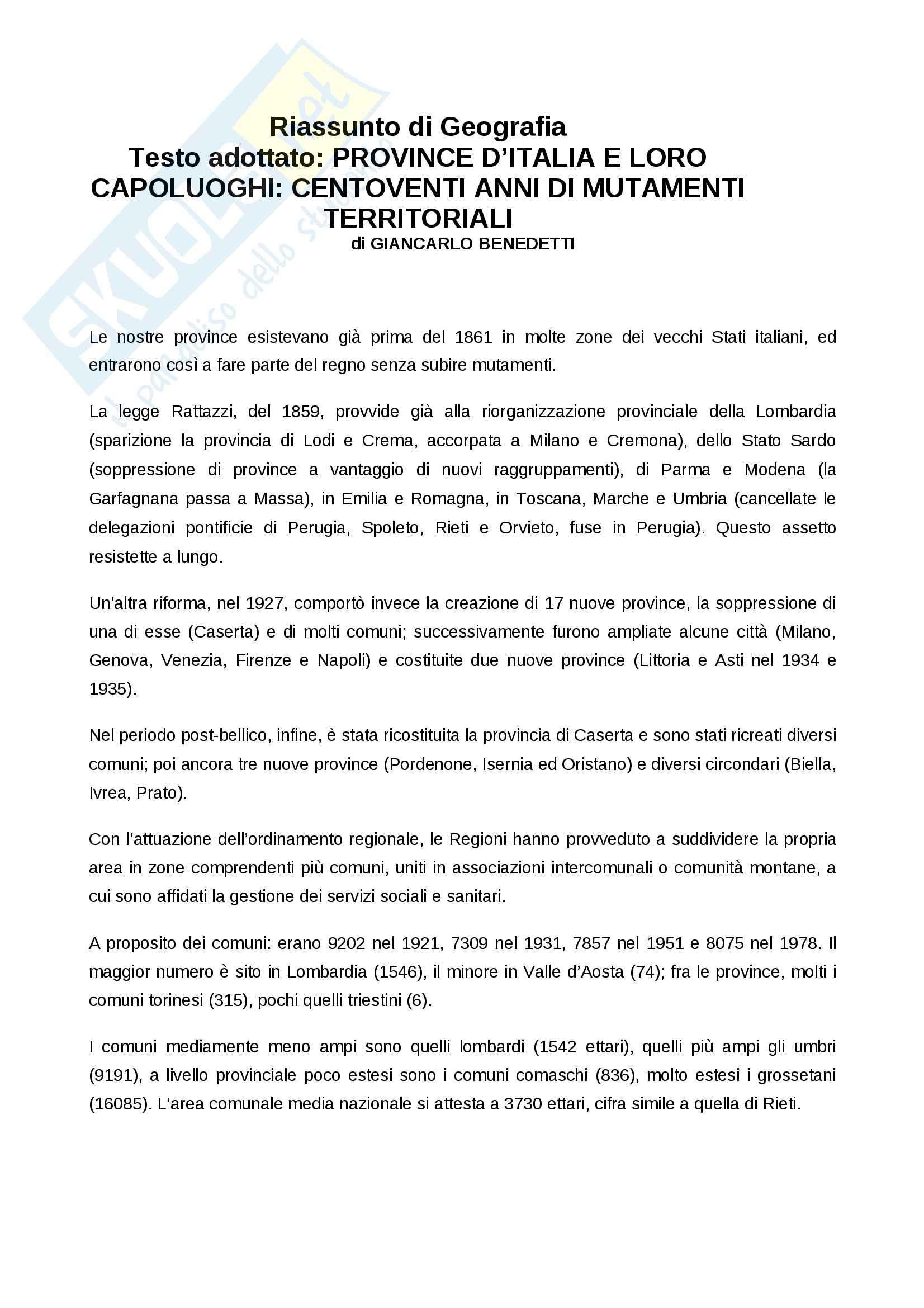 Riassunto esame Geografia, prof. Bartaletti, libro consigliato Province d'Italia e loro capoluoghi, Benedetti
