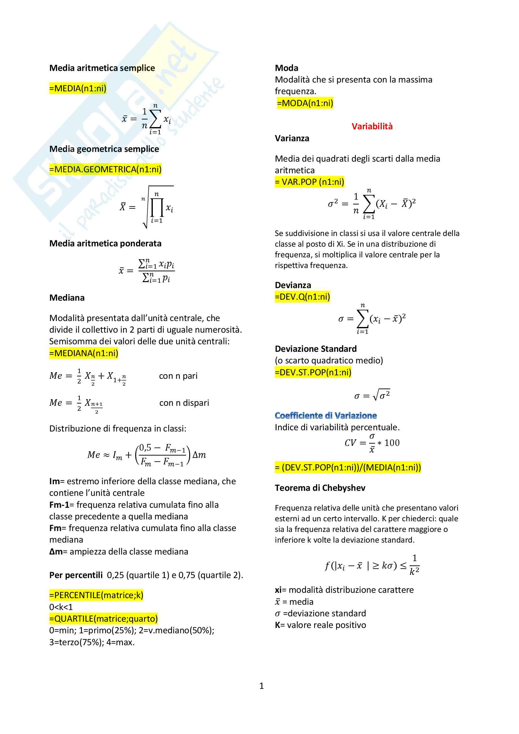 Statistica economica - Formulario