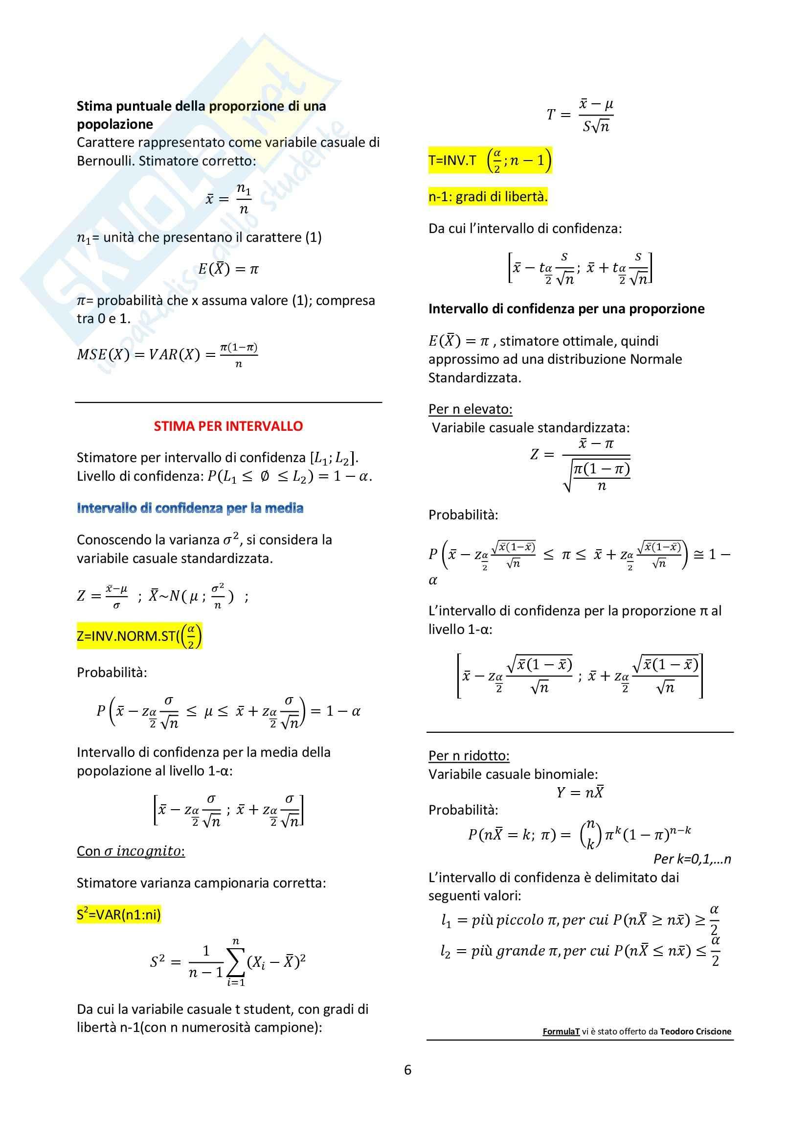 Statistica economica - Formulario Pag. 6