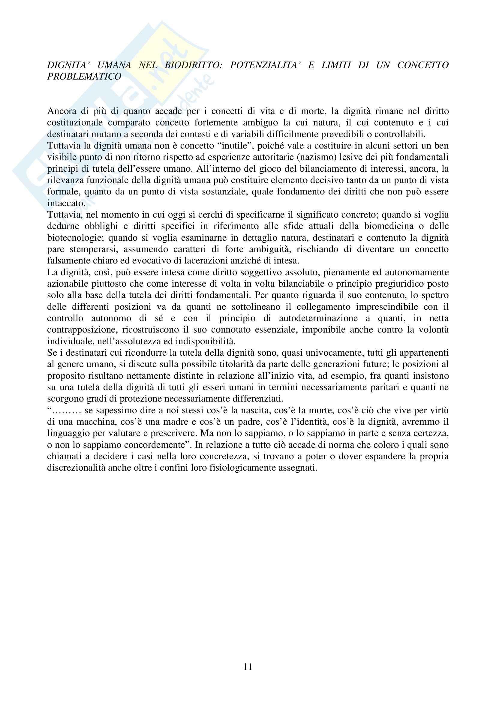 Riassunto esame Biodiritto, prof. Casonato, libro consigliato Introduzione al biodiritto Pag. 11
