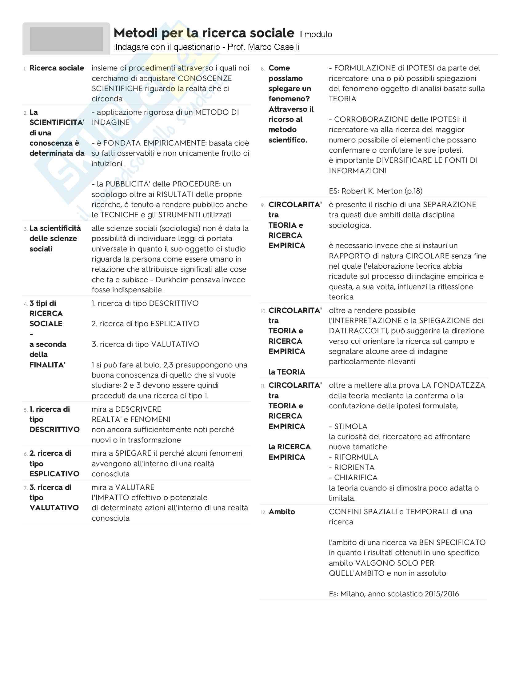 Riassunto esame Metodi per la ricerca sociale - I modulo, docente M. Caselli, libro consigliato Indagare Con il Questionario, Caselli