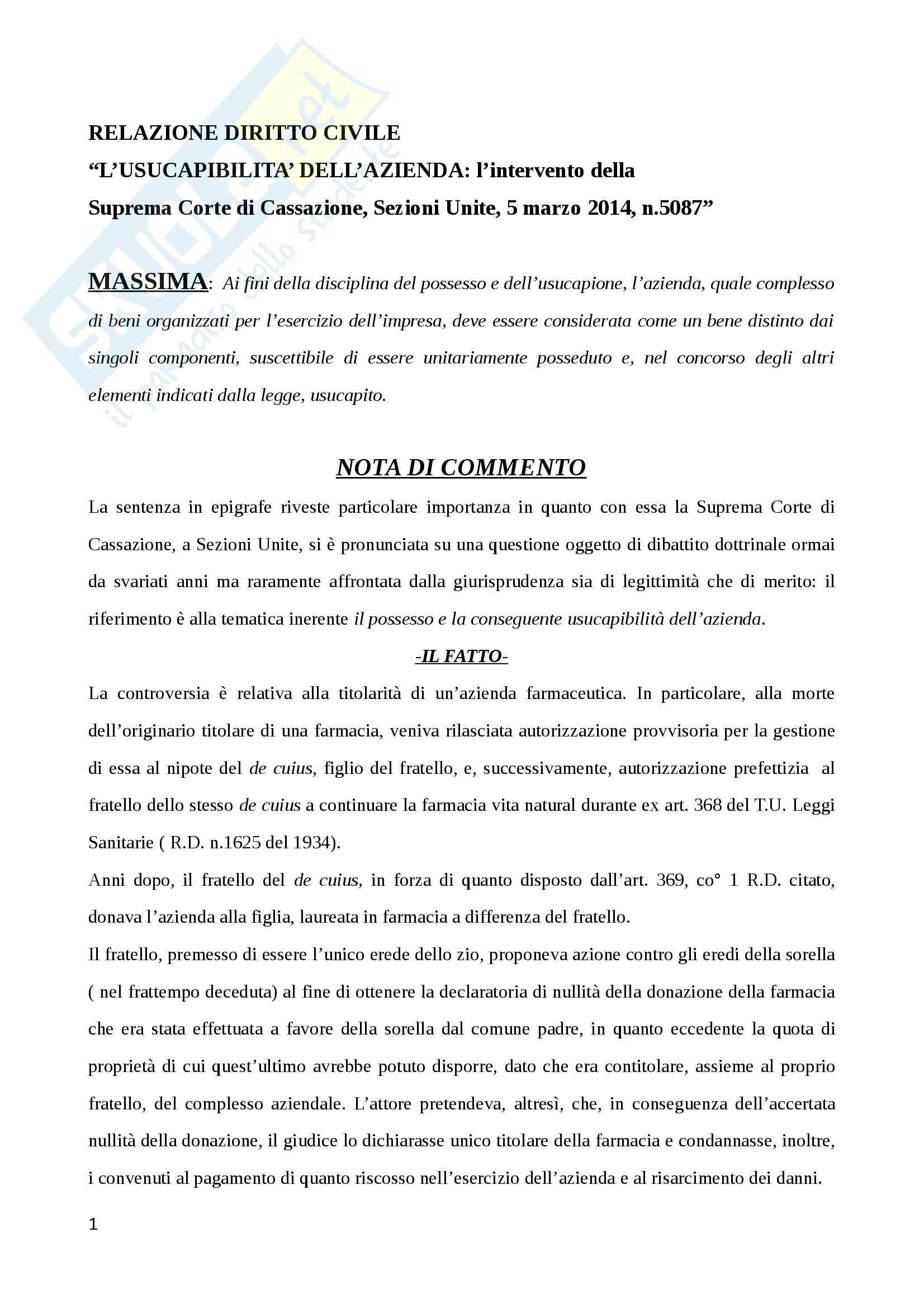 Usucapibilità dell'azienda, Diritto civile
