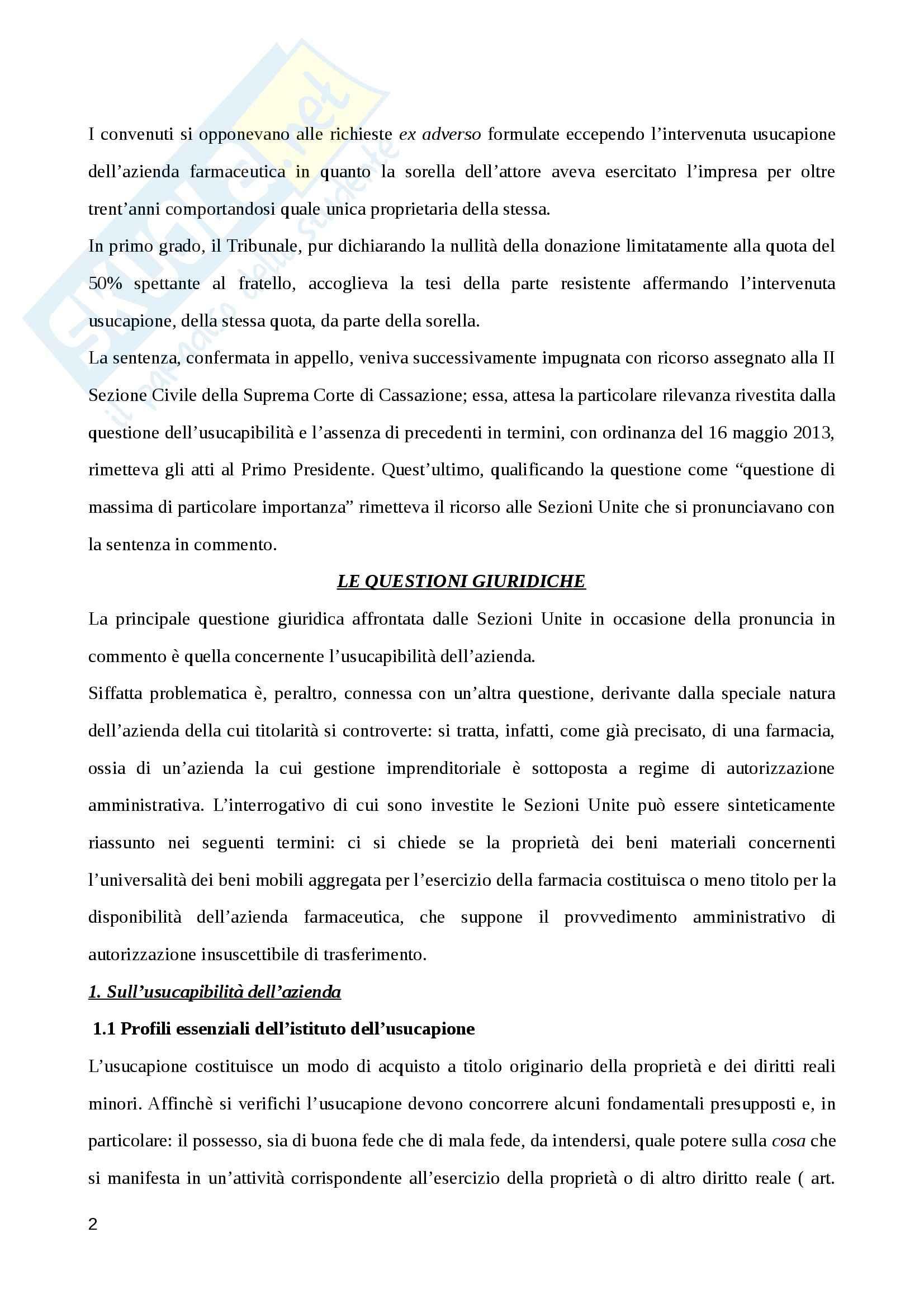 Usucapibilità dell'azienda, Diritto civile Pag. 2