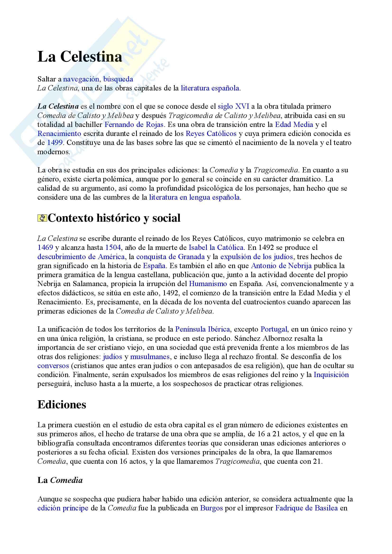 Lingua e Letteratura Spagnola  - La Celestina Sp