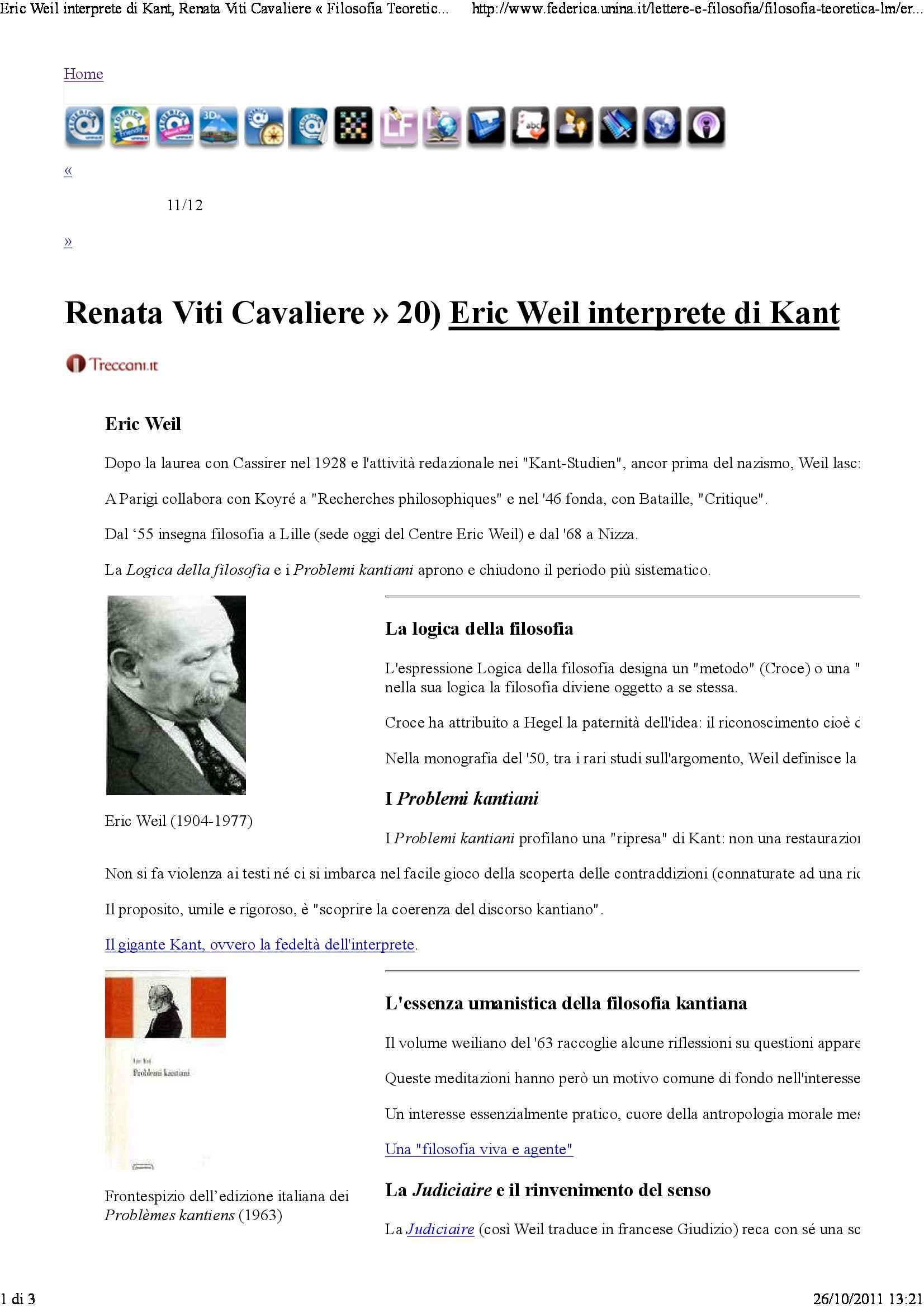 Eric Weil interprete di Kant