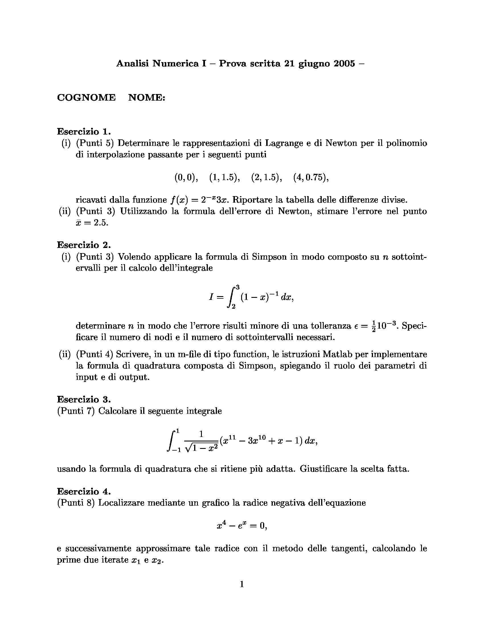 Analisi Numerica - esercizi
