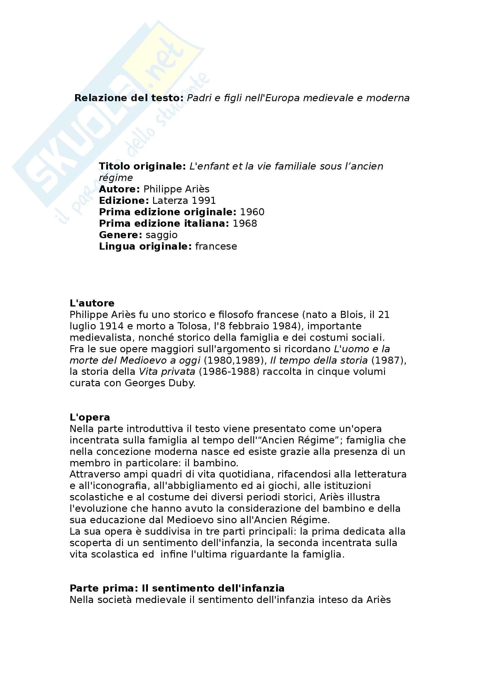 Riassunto esame storia dell'educazione e dell'infanzia, prof. Merlo, libro consigliato Padri e figli nell'Europa medievale e moderna, Philippe Ariès