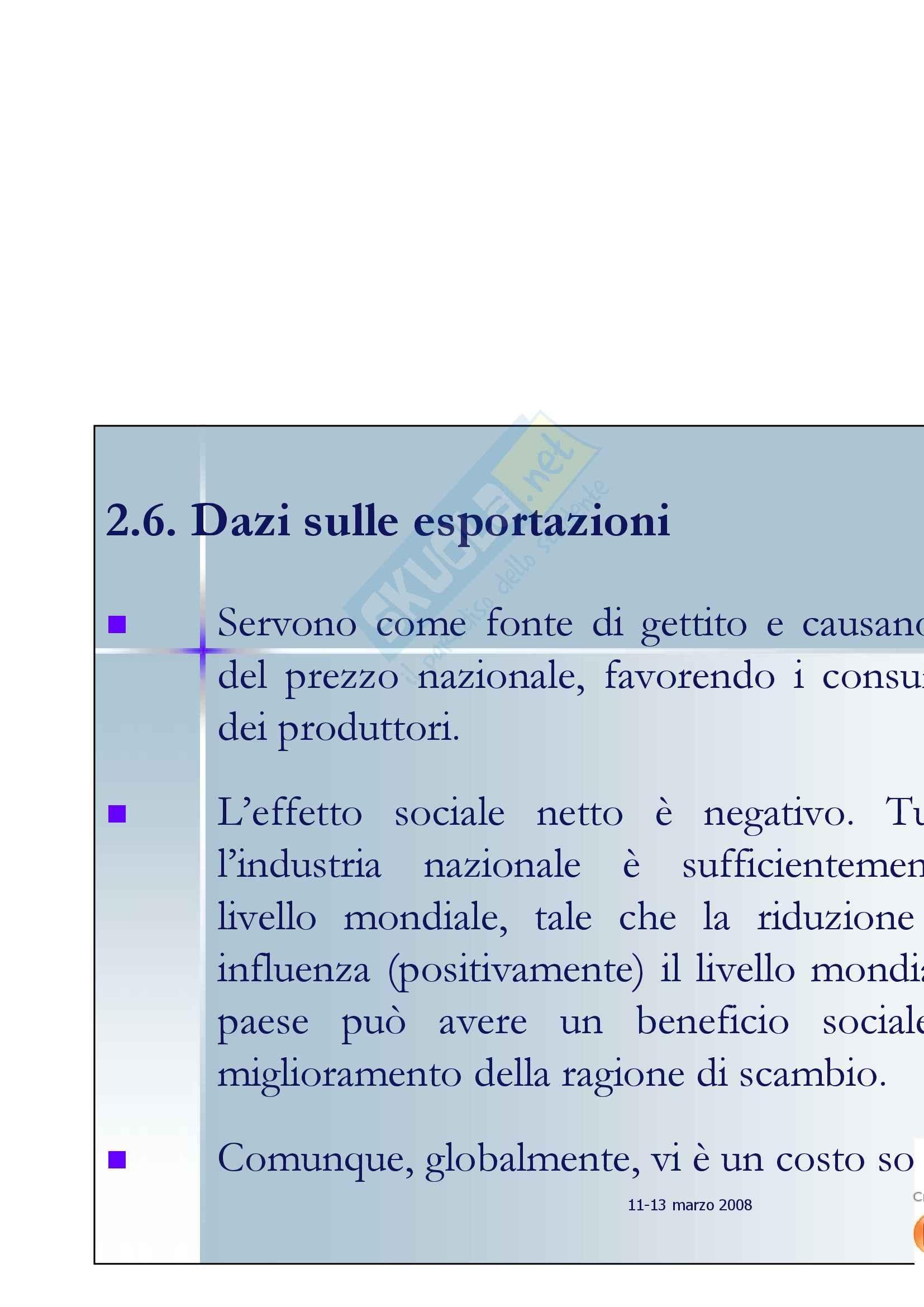 Economia internazionale -  esempi di stima di costo sociale per i dazi Pag. 21