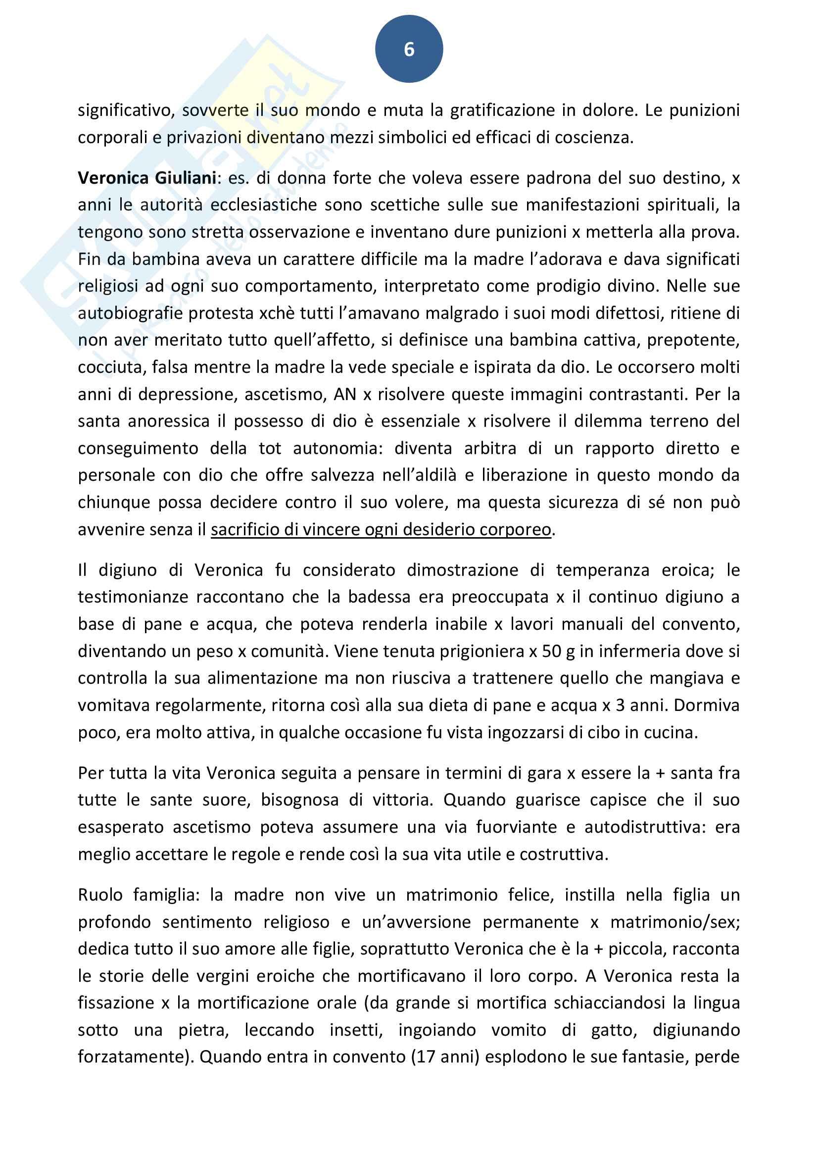 Riassunto esame Storia delle religioni, prof. Bonanate, libro consigliato, La santa anoressia, Bell Pag. 6