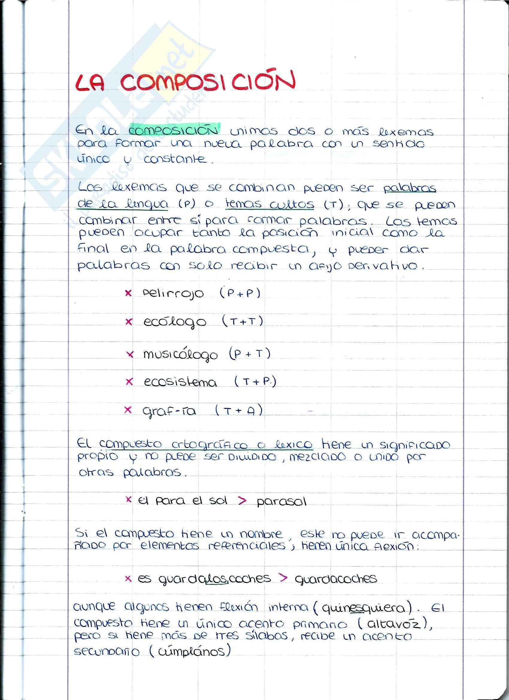 Lingua Spagnola - Riassunto esame e appunti Morfologia Lexica (2), prof. Del Carmen