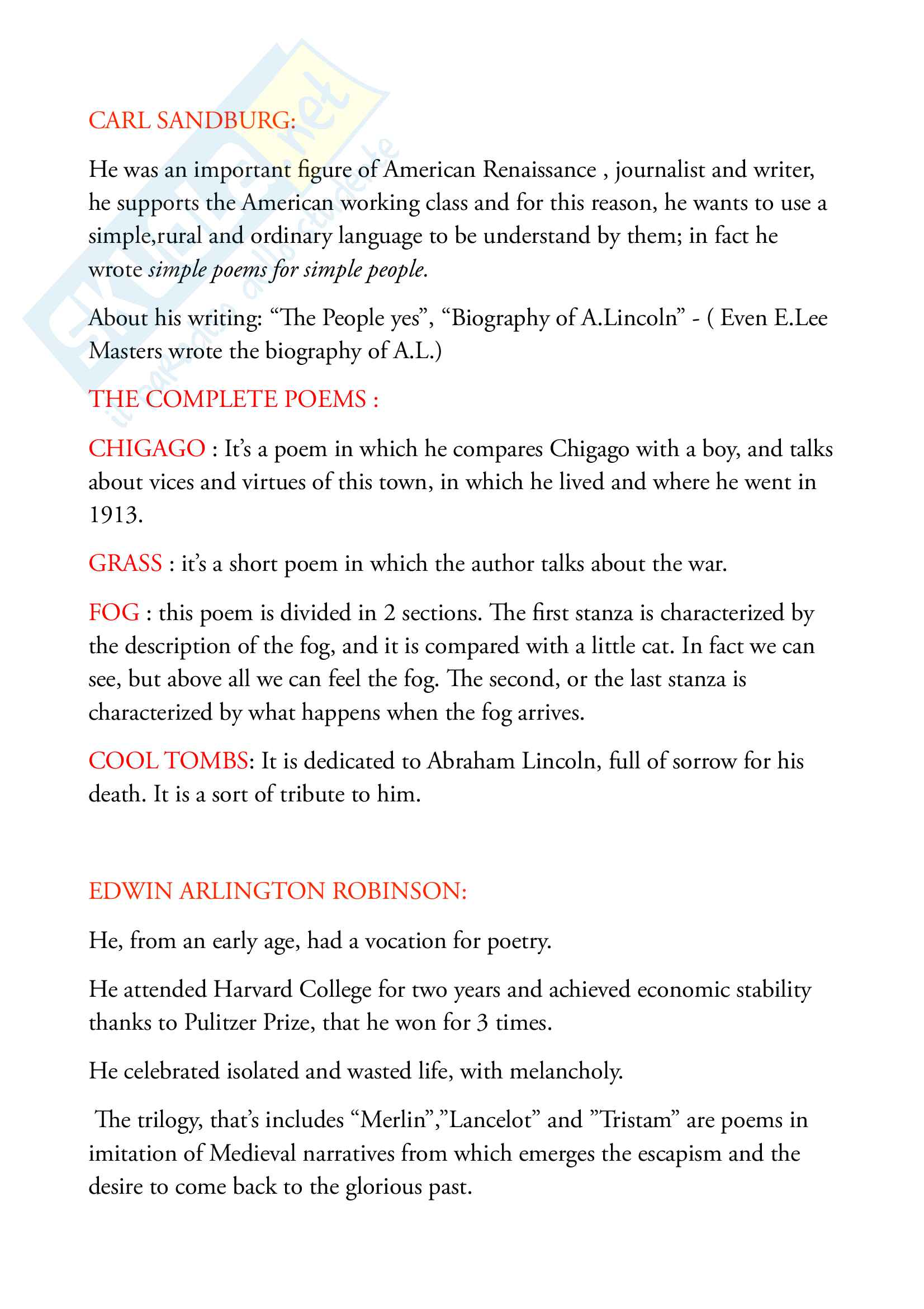 Appunti e riassunti di Letterature Anglo-americane, prof. Kidder