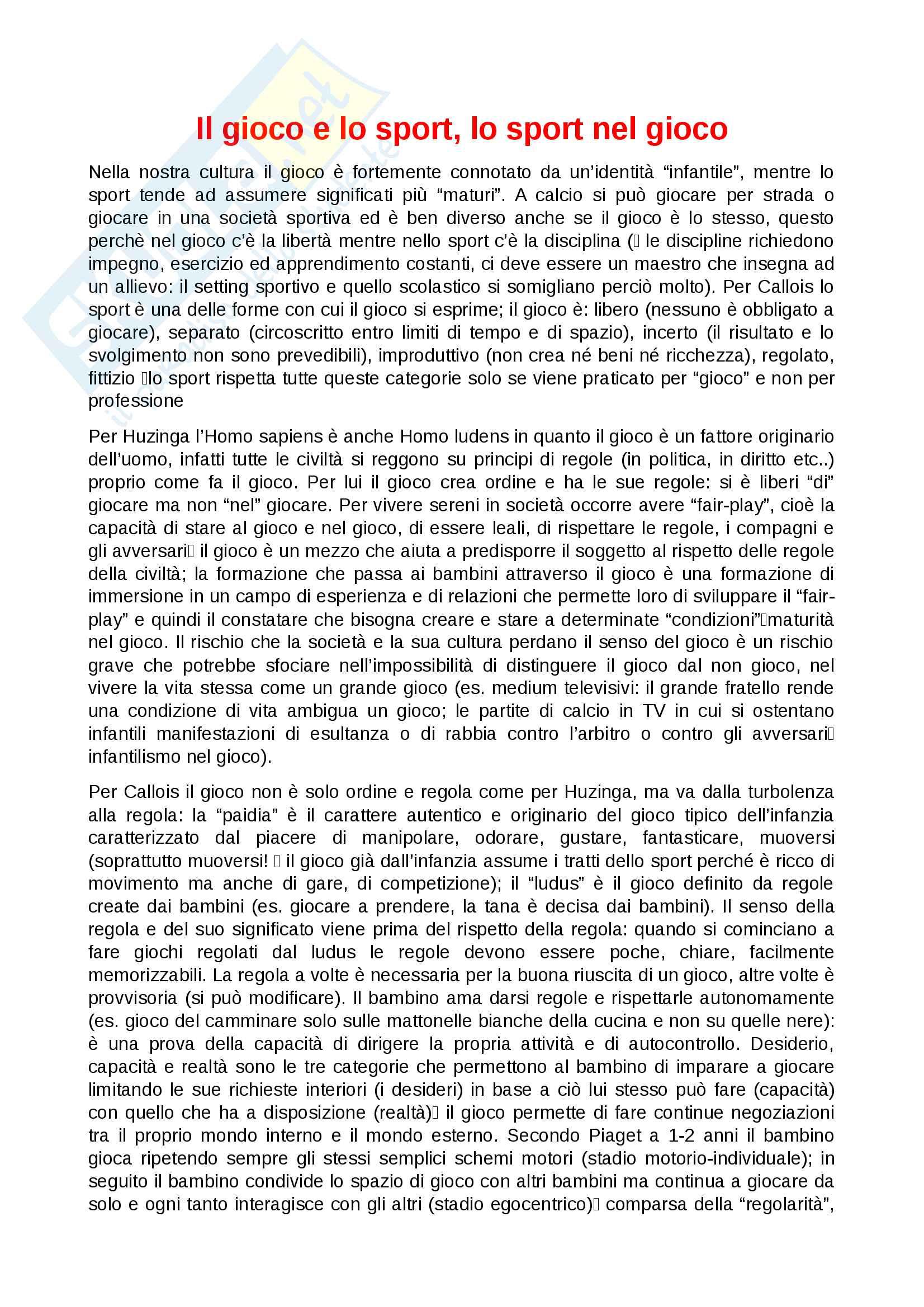 """Riassunto esame di metodologia del gioco, docente Carla Baglietto, libro consigliato """"Sport e infanzia, un'esperienza formativa tra gioco e impegno"""" autore R.Farnè"""