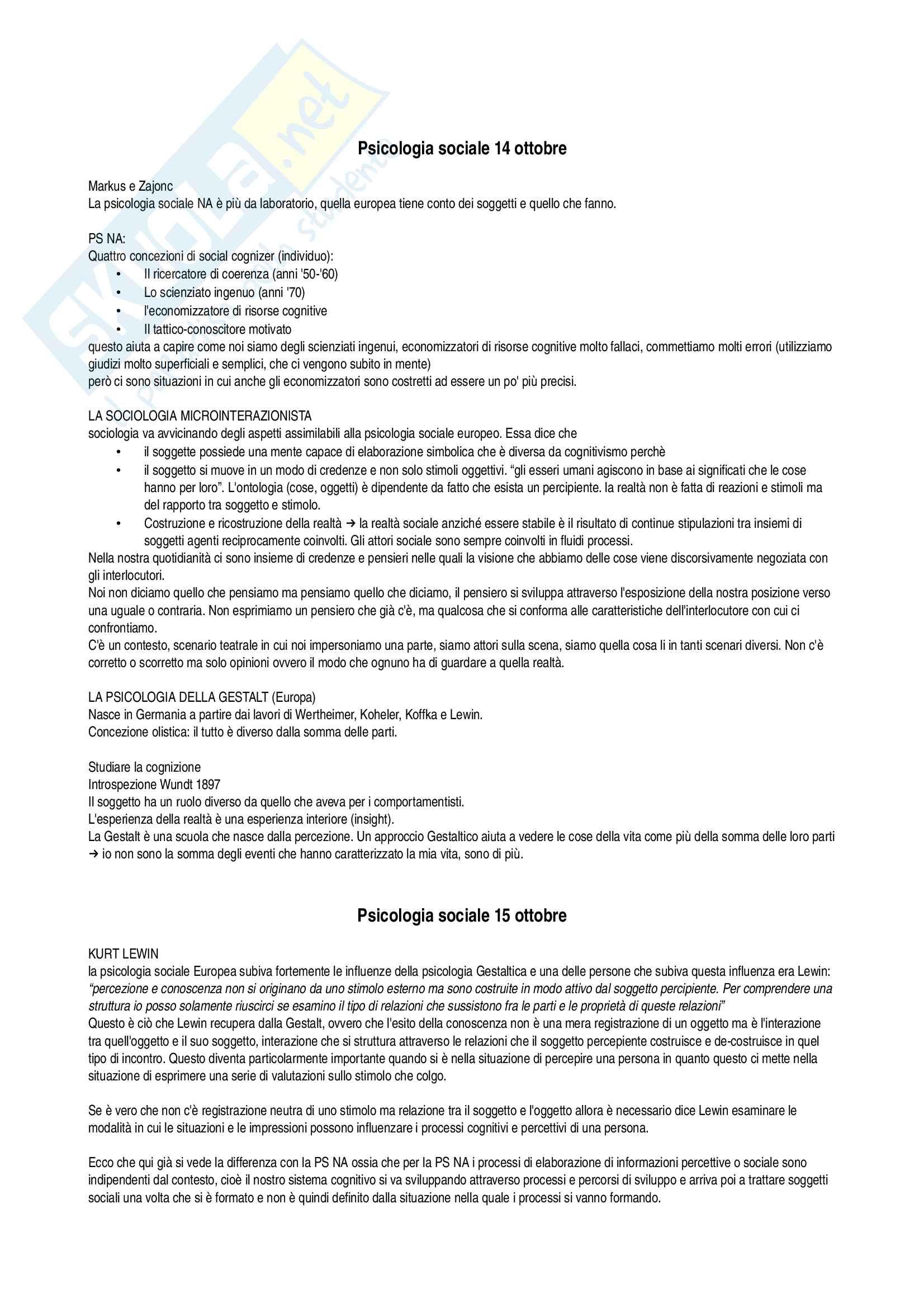 Psicologia sociale, appunti delle lezioni su tutto il programma Pag. 2
