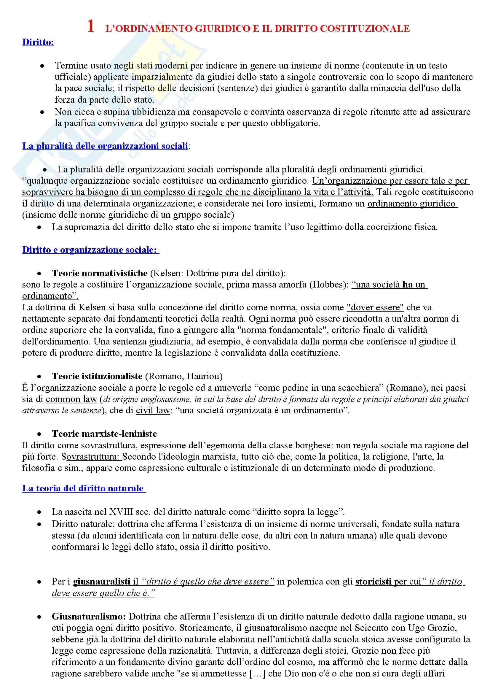 Riassunto esame Istituzioni di Diritto Pubblico, prof. Cerri, libro consigliato Manuale di Diritto Pubblico, Barbera