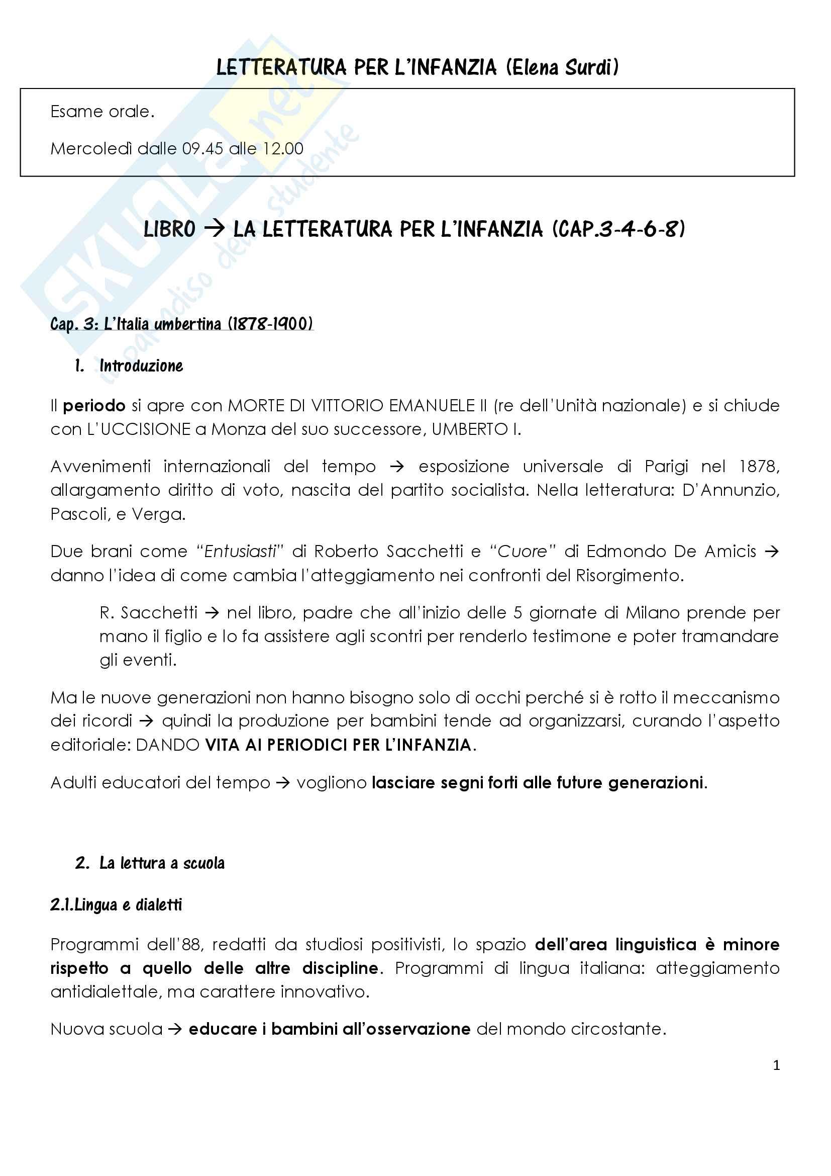 Sunto di letteratura per l'infanzia, docente Elena Surdi, libro consigliato La letteratura per l'infanzia, P. Boero, C.De Luca