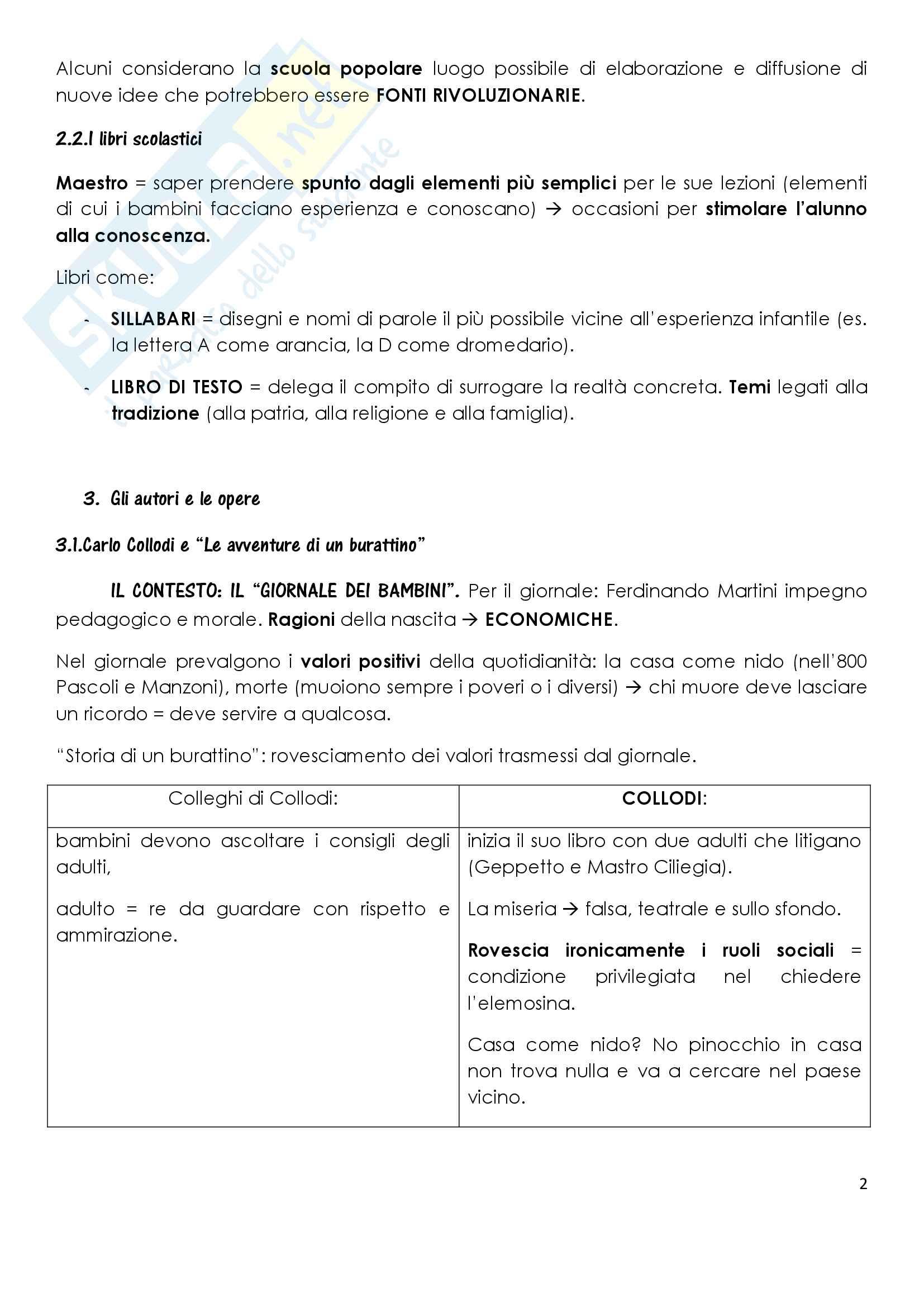 Sunto di letteratura per l'infanzia, docente Elena Surdi, libro consigliato La letteratura per l'infanzia, P. Boero, C.De Luca Pag. 2