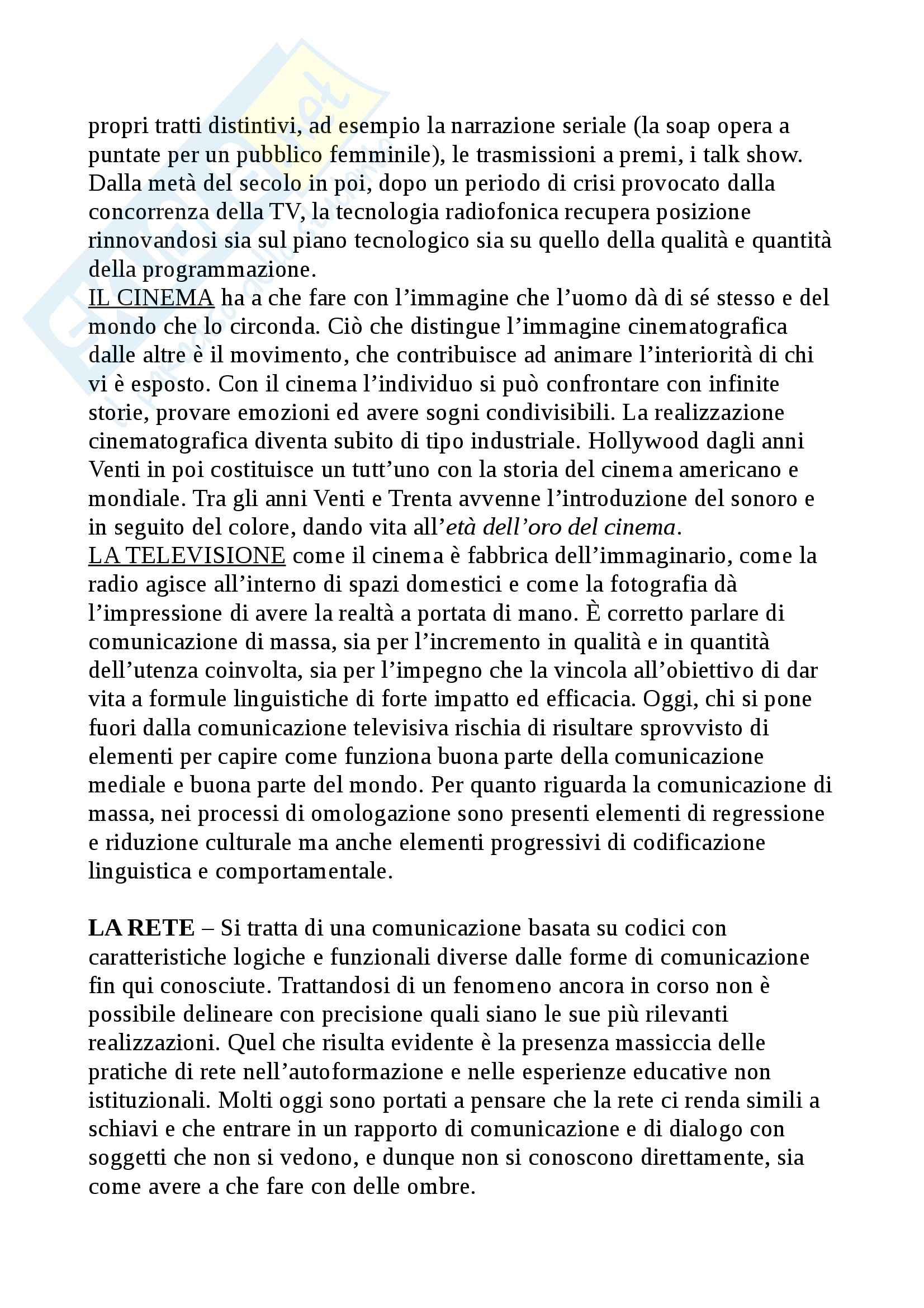 Riassunto esame Tecnologie didattiche, prof. Bocci, libro consigliato Storia e pedagogia nei media, Maragliano, Pireddu Pag. 6