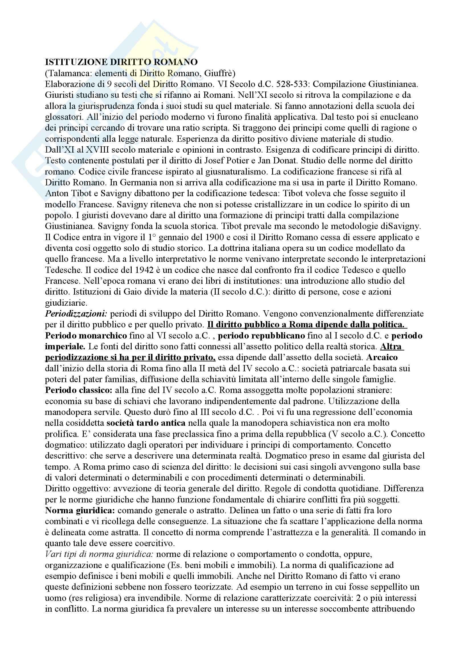 Diritto romano - nozioni principali