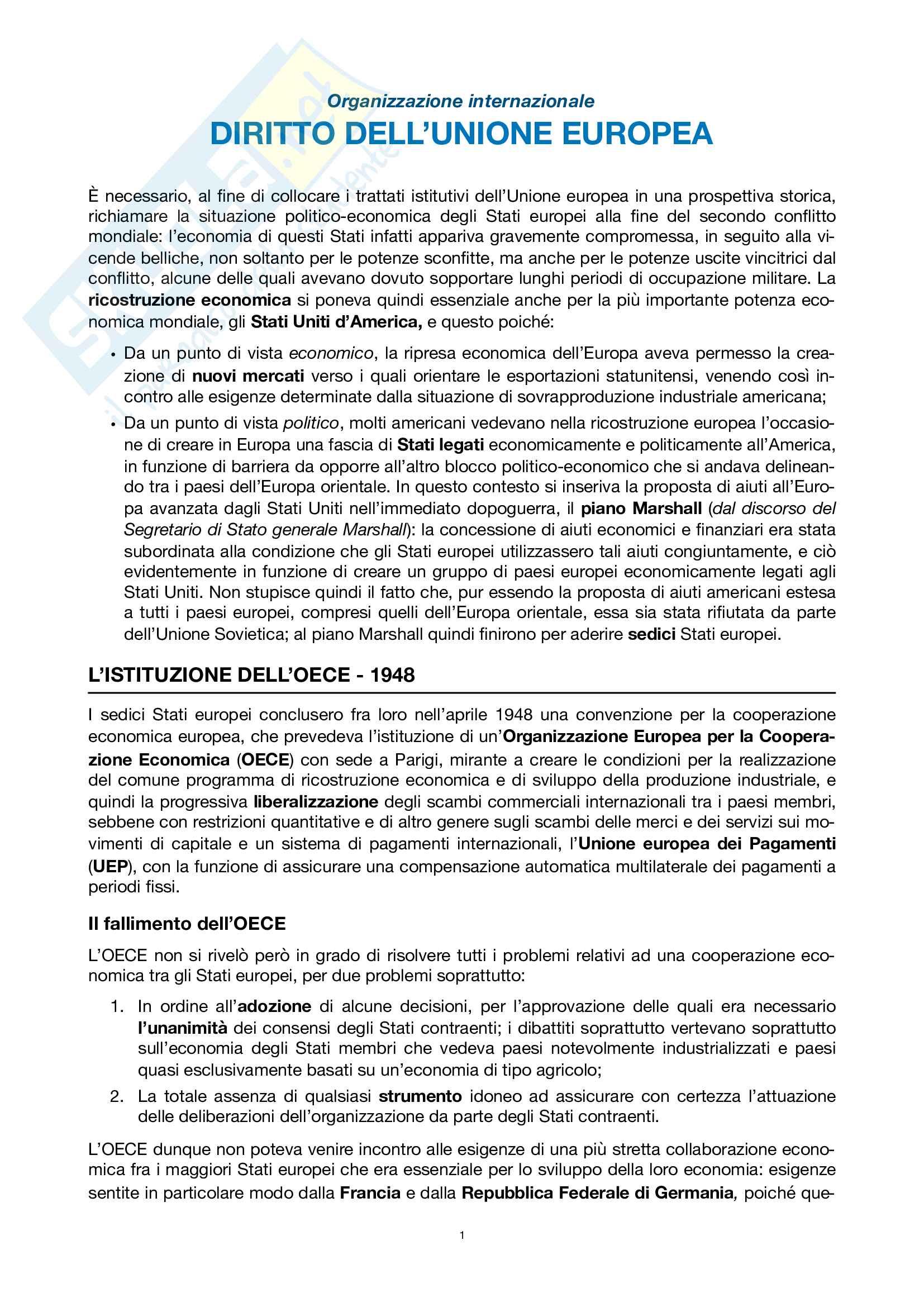 Riassunti esame di organizzazione internazionale: diritto dell'Unione europea