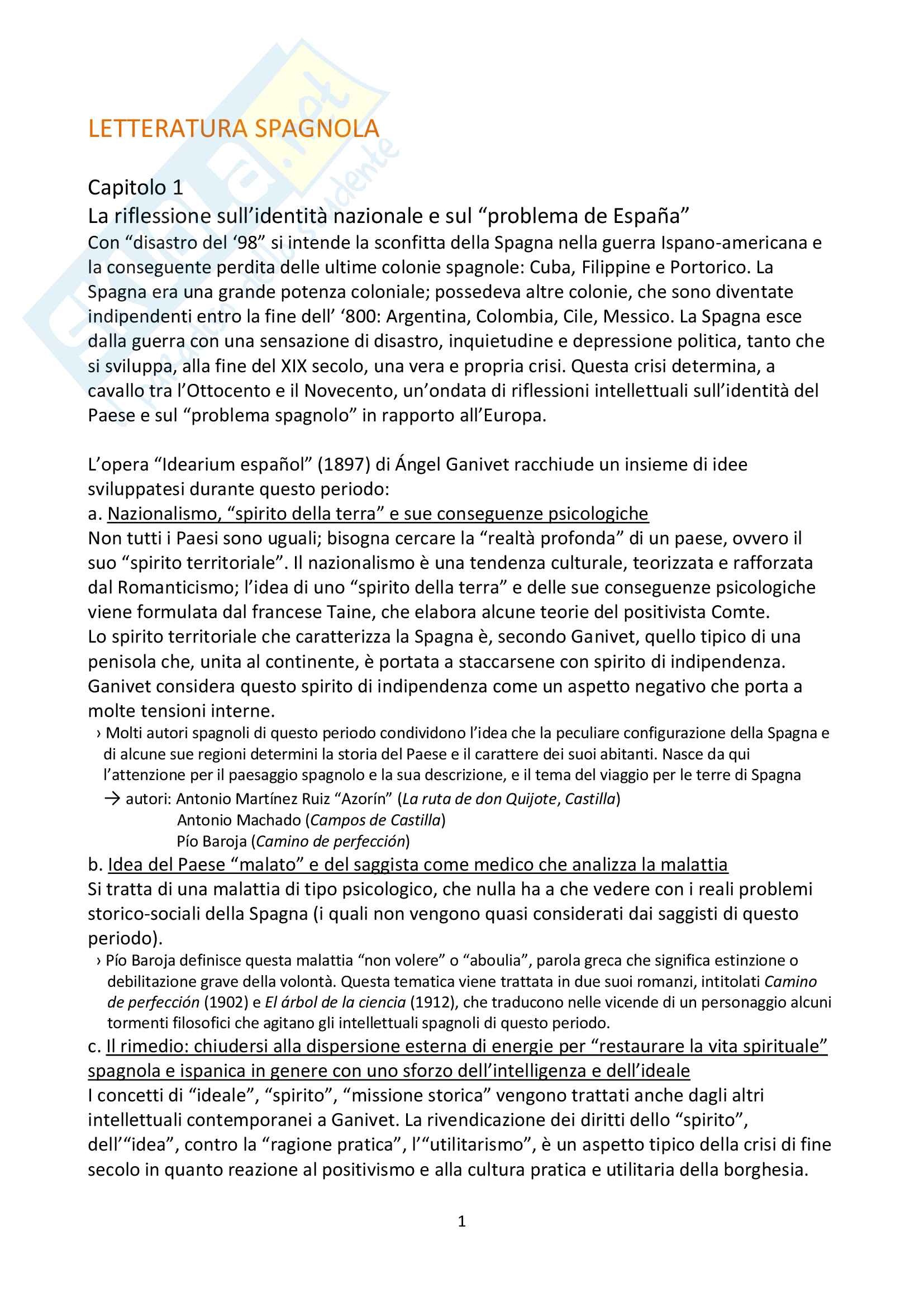 Riassunto esame Letteratura Spagnola
