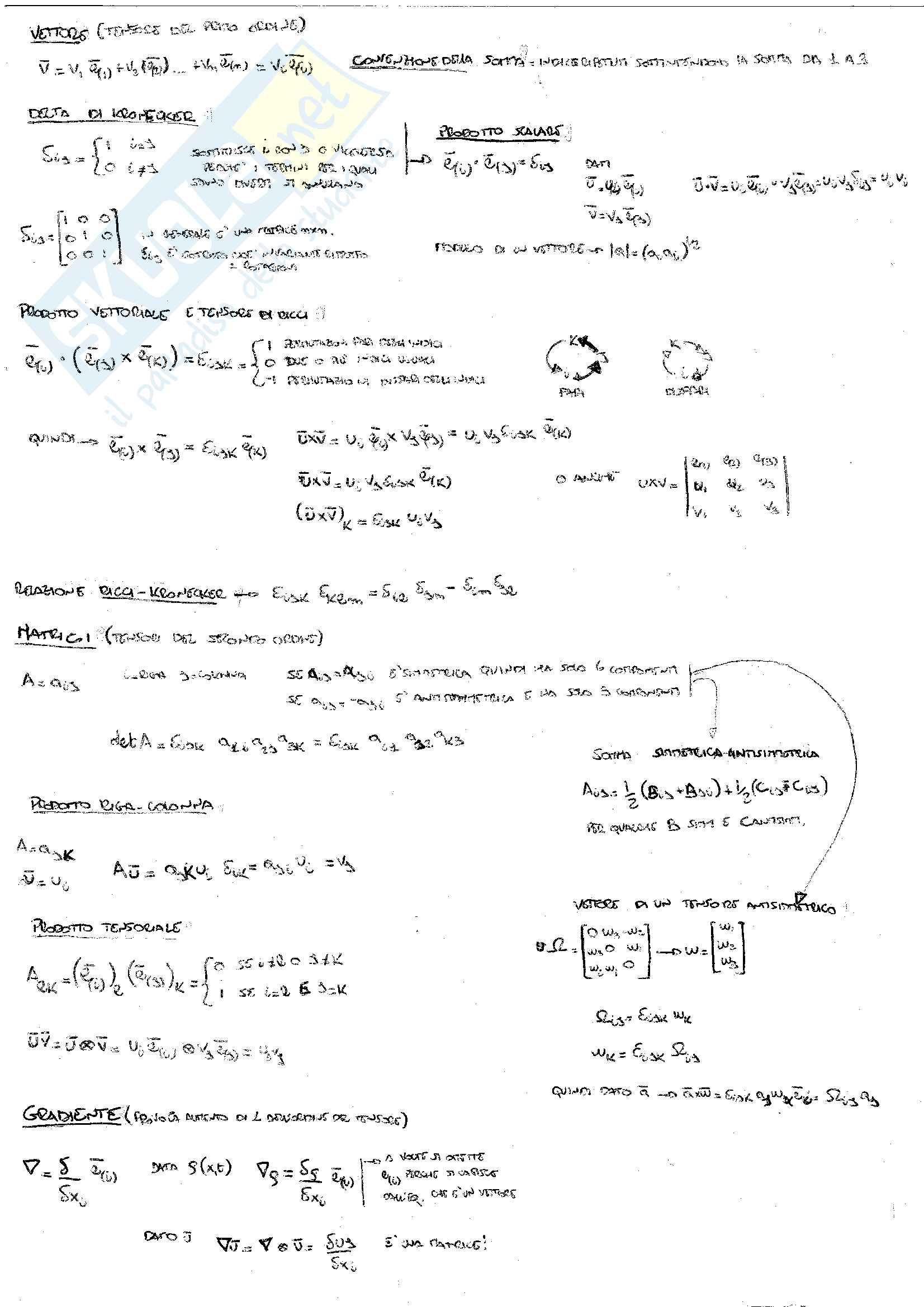 Fluidodinamica 01 Cinematica e Dinamica dei continui con elementi di calcolo indiciale