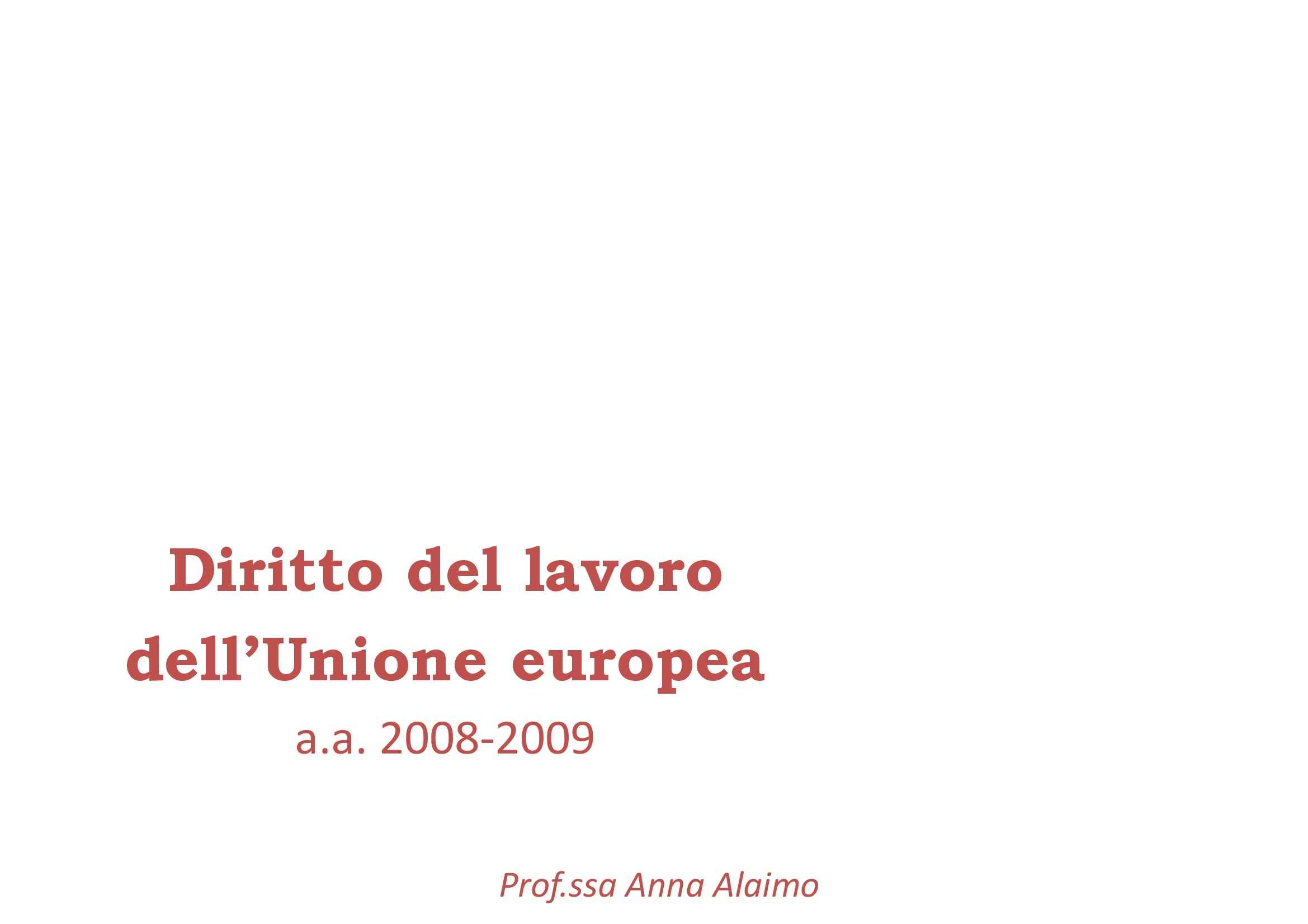 dispensa A. Alaimo Diritto del lavoro dell'UE