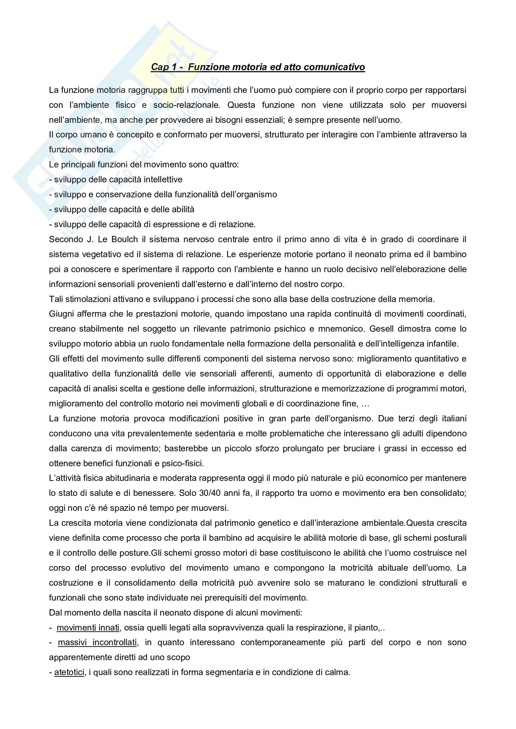 Riassunto esame motoria, docente Casolo, libro consigliato Il corpo che parla, Casolo, Melica