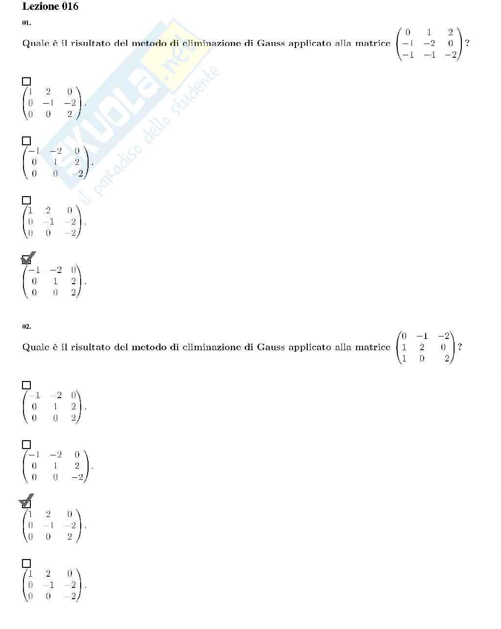 Domande Aperte complementi di matematica