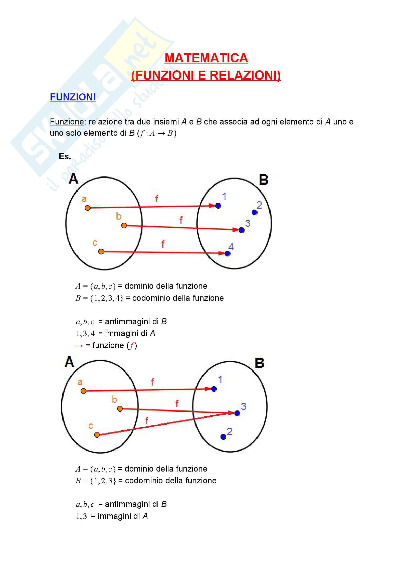 Funzioni e Relazioni - Istituzioni Matematiche