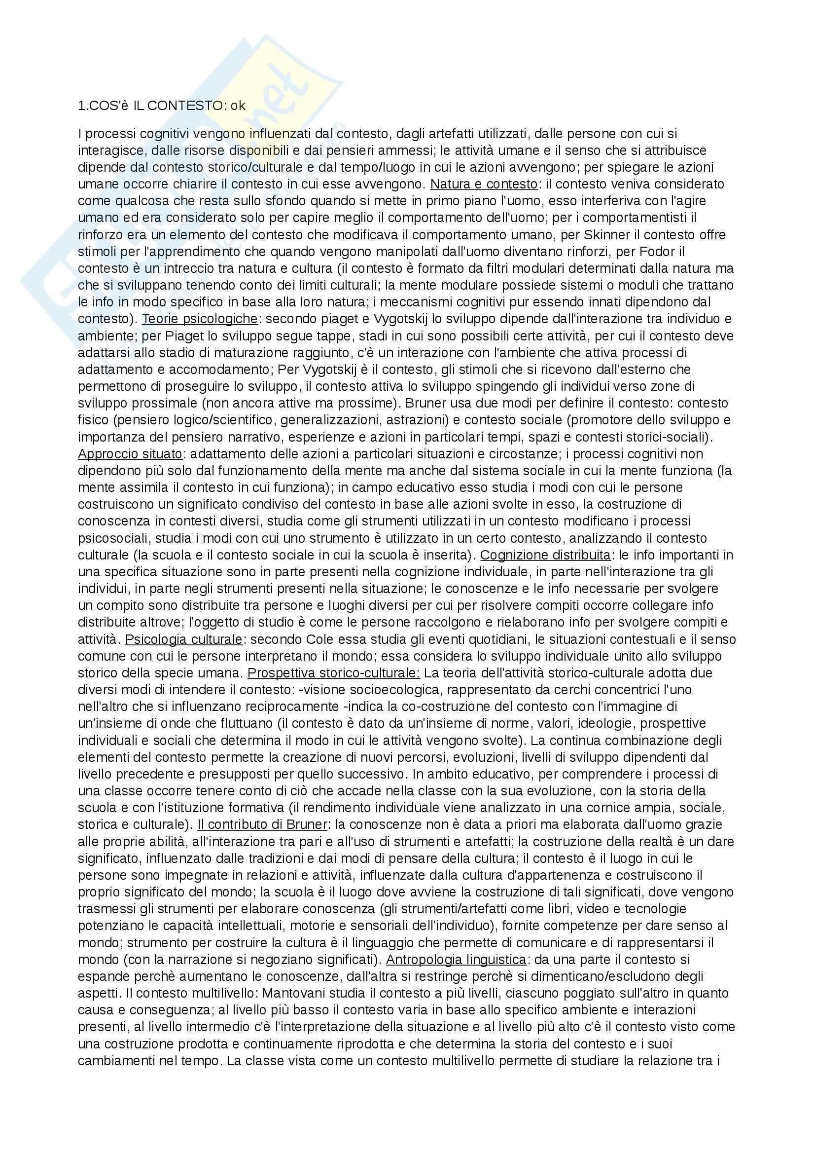 Riassunto esame Psicologia dell'educazione, prof. Zanetti, libro consigliato La scuola come contesto, Ligorio