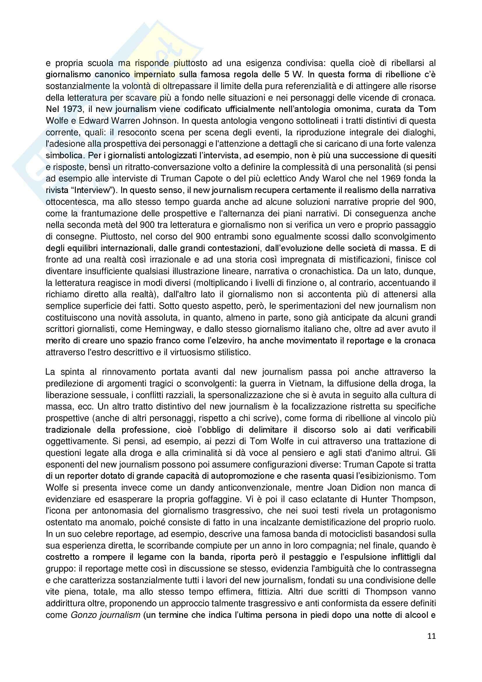 Riassunto esame Giornalismo Letterario, prof. Dell'Aquila, libro consigliato Letteratura e Giornalismo, Bertoni Pag. 11