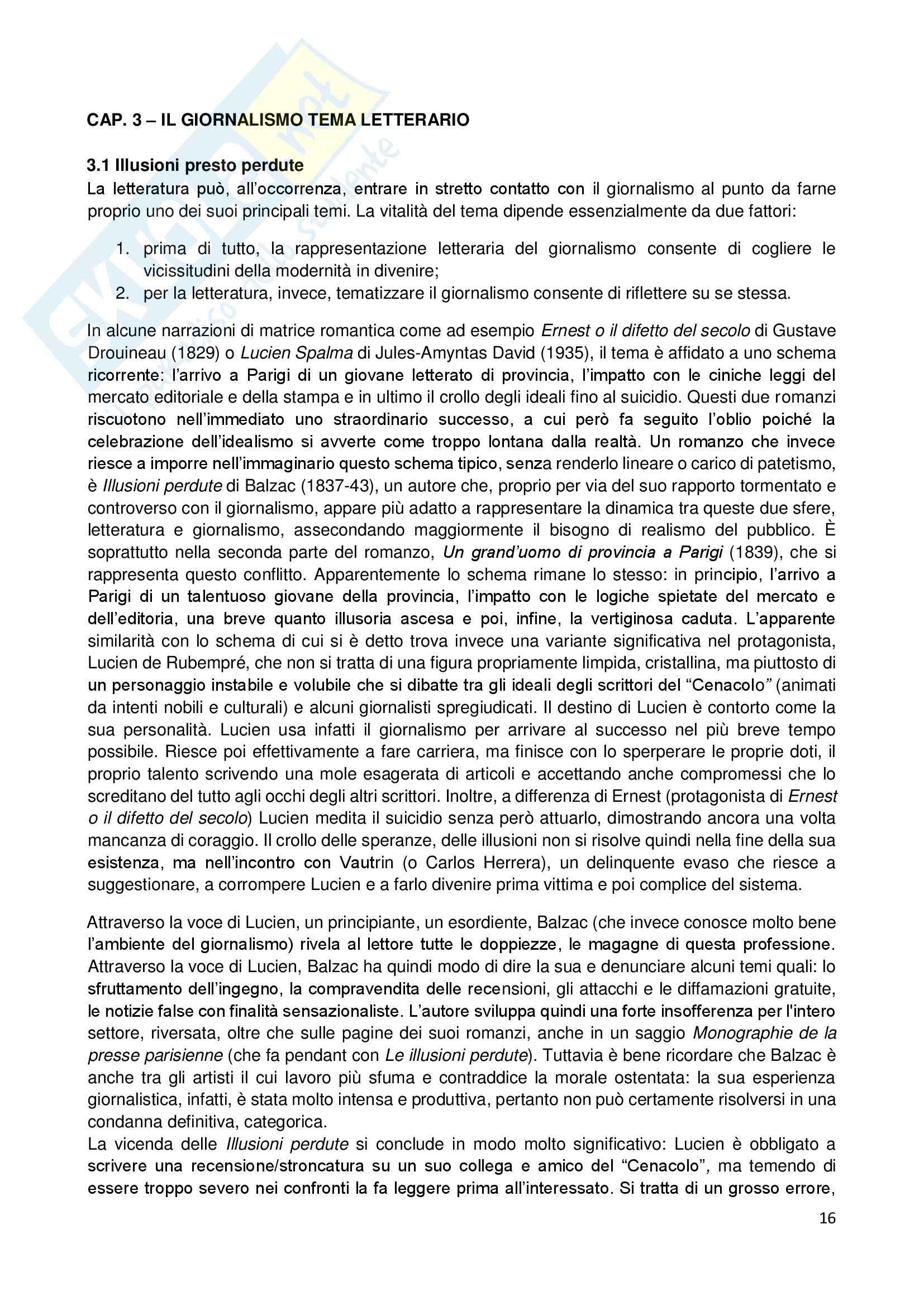 Riassunto esame Giornalismo Letterario, prof. Dell'Aquila, libro consigliato Letteratura e Giornalismo, Bertoni Pag. 16