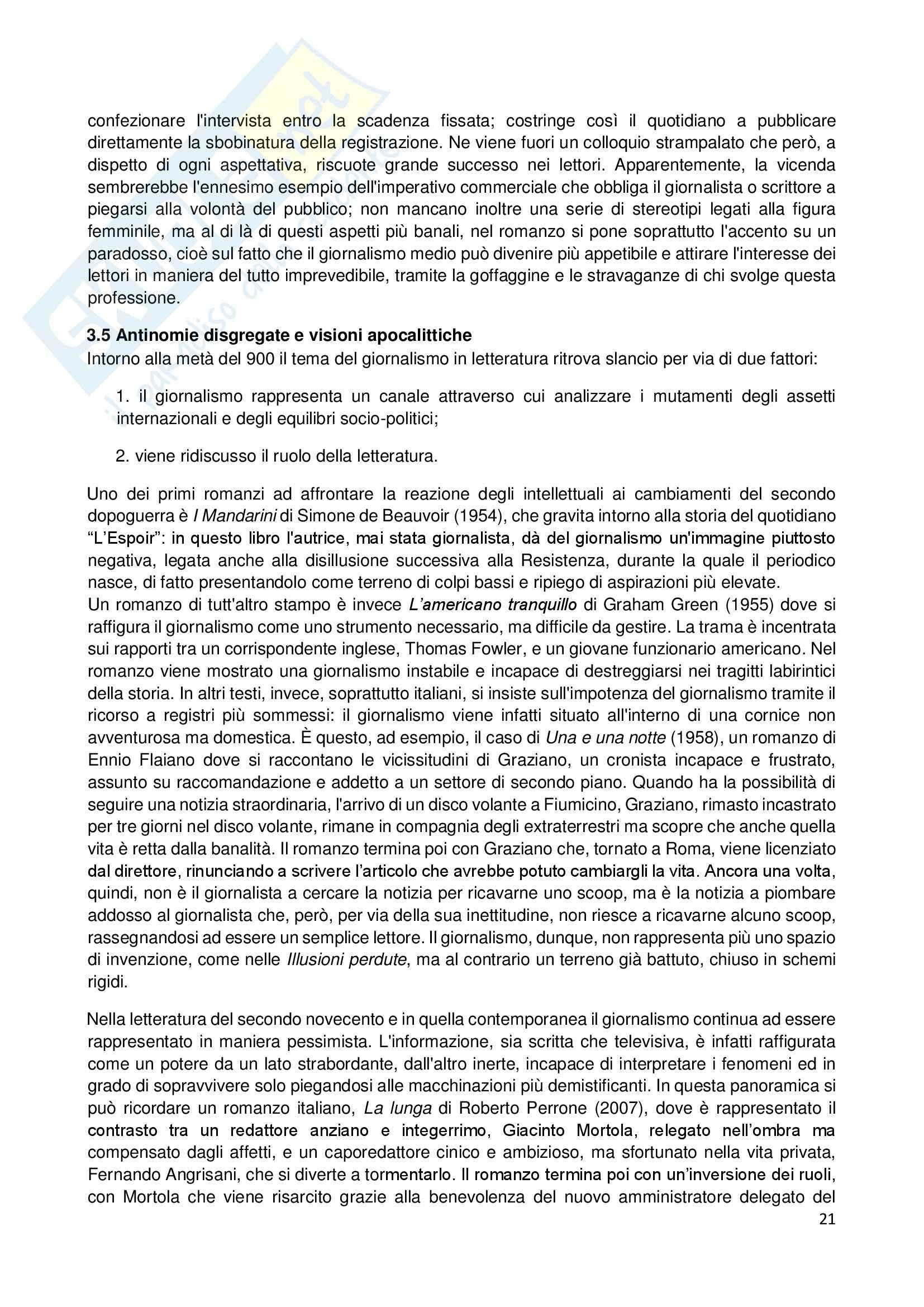 Riassunto esame Giornalismo Letterario, prof. Dell'Aquila, libro consigliato Letteratura e Giornalismo, Bertoni Pag. 21