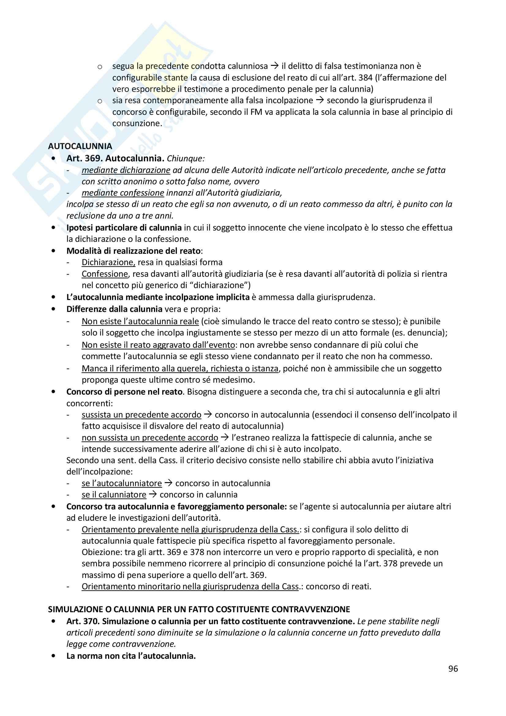 Riassunto esame Diritto penale, prof. Zanotti, libro consigliato Manuale di diritto penale Parte speciale, Fiandaca, Musco Pag. 96