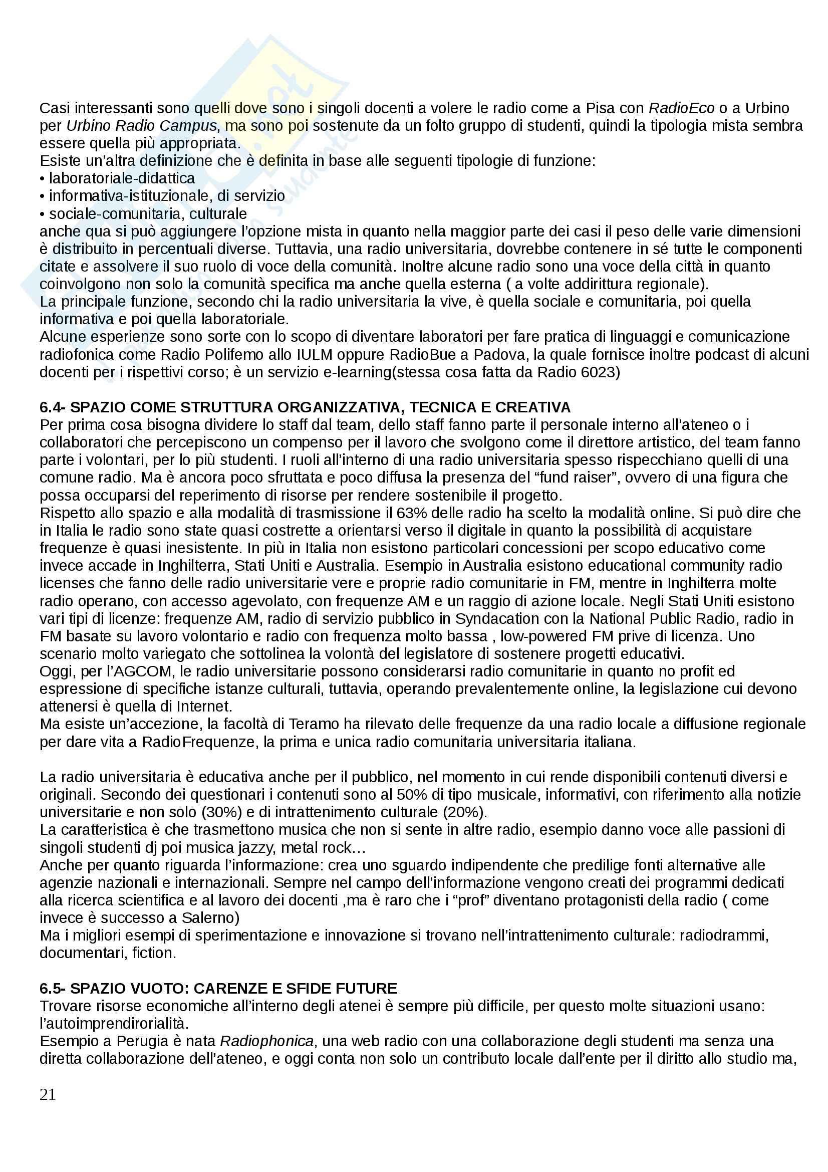 Riassunto esame Laboratorio di Comunicazione Radiofonica, prof. Bonini, libro consigliato La Radio in Italia Pag. 21