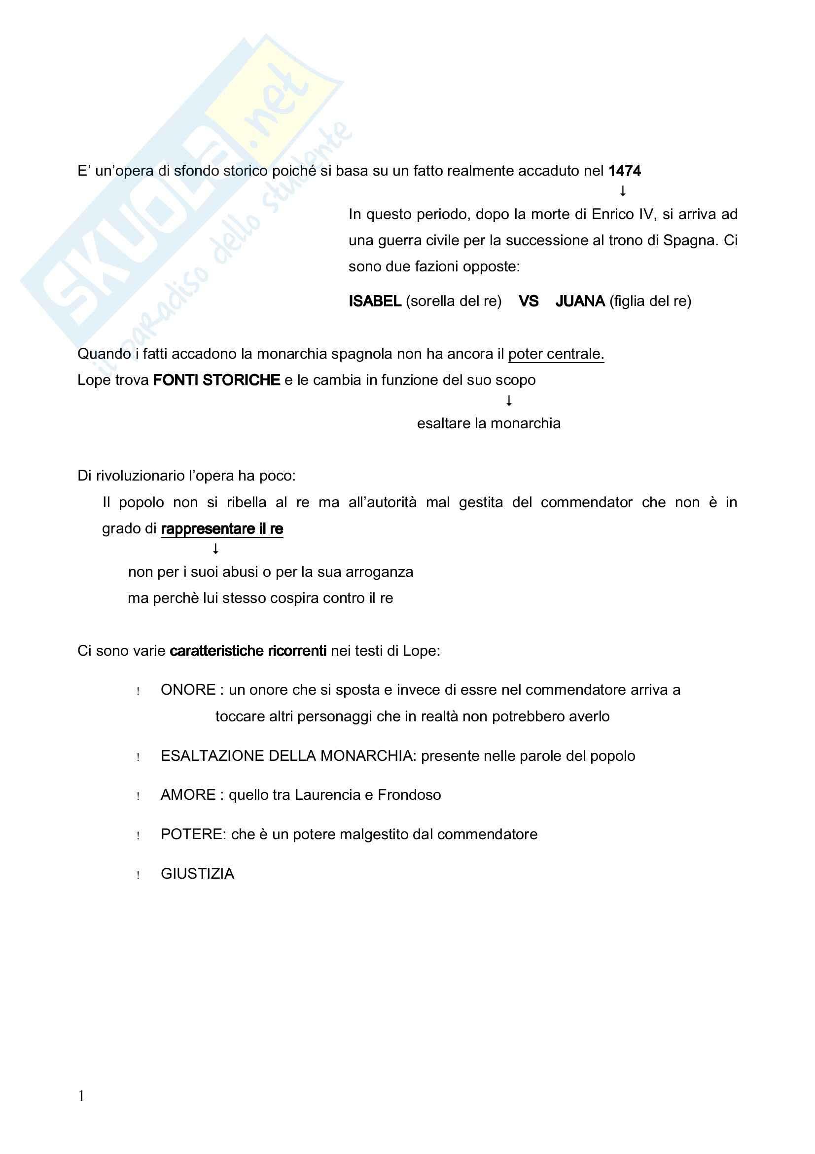 Riassunto esame Letteratura Spagnola, prof. Crippa, libro consigliato Fuente Ovejuna di De Vega
