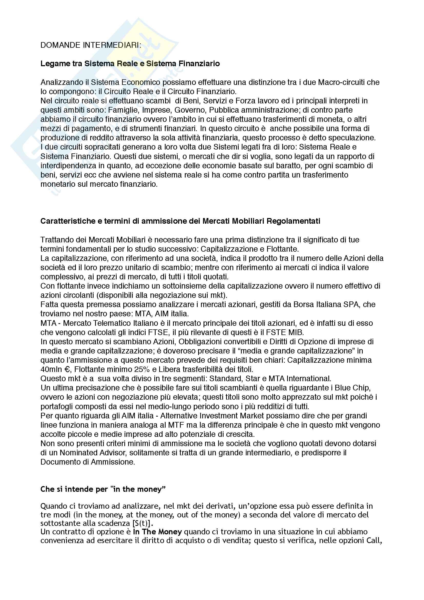 Domande (1Esonero) Economia degli Intermediari Finanziari