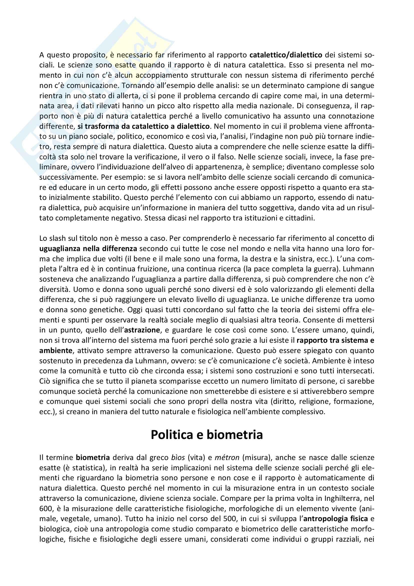 Riassunto esame Filosofia Politica, prof. Preite, libro consigliato Politica e Biometria, Gianpasquale Preite Pag. 2