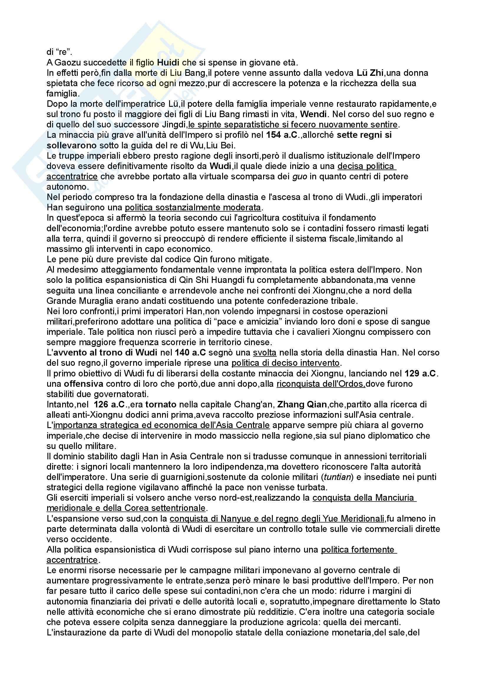 Riassunto esame Storia dell'Asia orientale, prof. Santangelo, libro consigliato Storia della Cina, Sabbattini, Santangelo Pag. 21