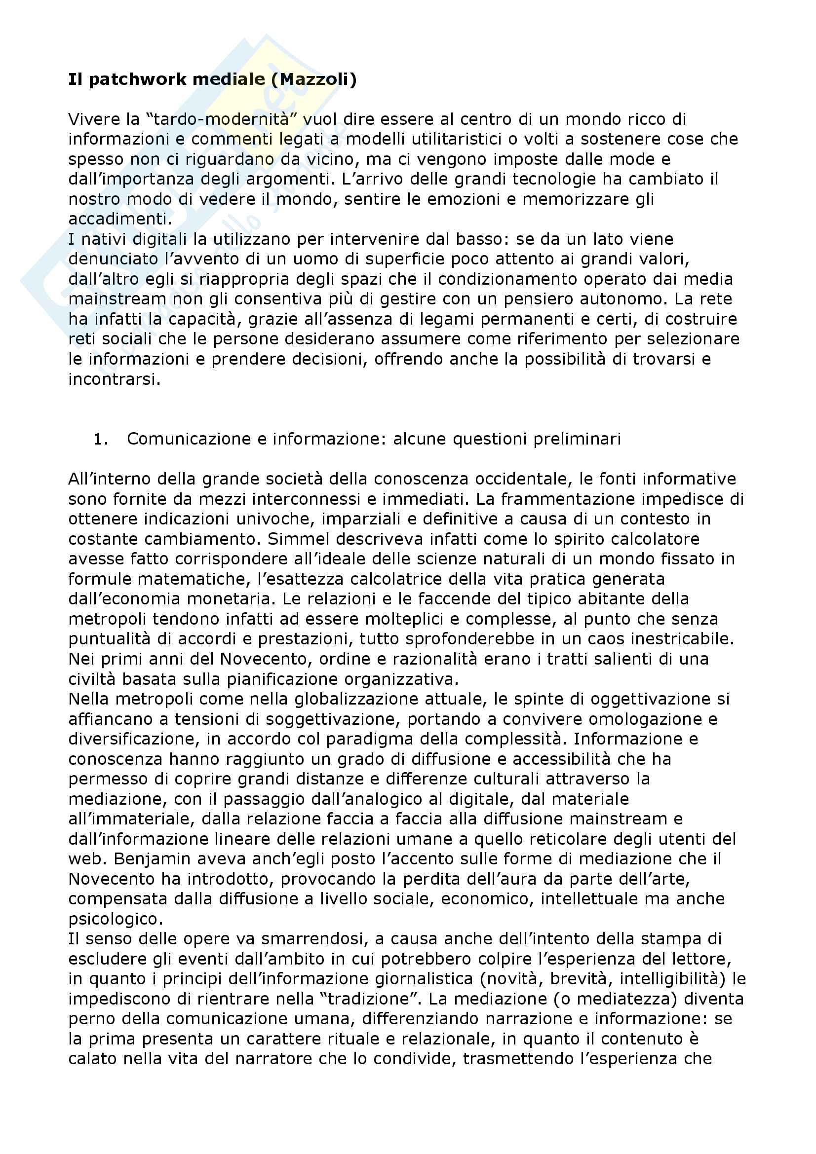Riassunto esame Sociologia della comunicazione, prof. Mazzoli, libro consigliato Il patchwork mediale, Mazzoli