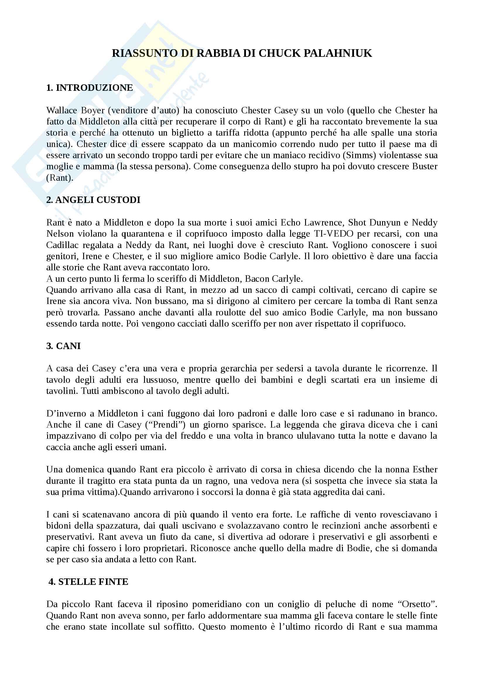 Riassunto esame Letterature comparate, prof. Vittorini, libro consigliato Rabbia di Chuck Palahniuk
