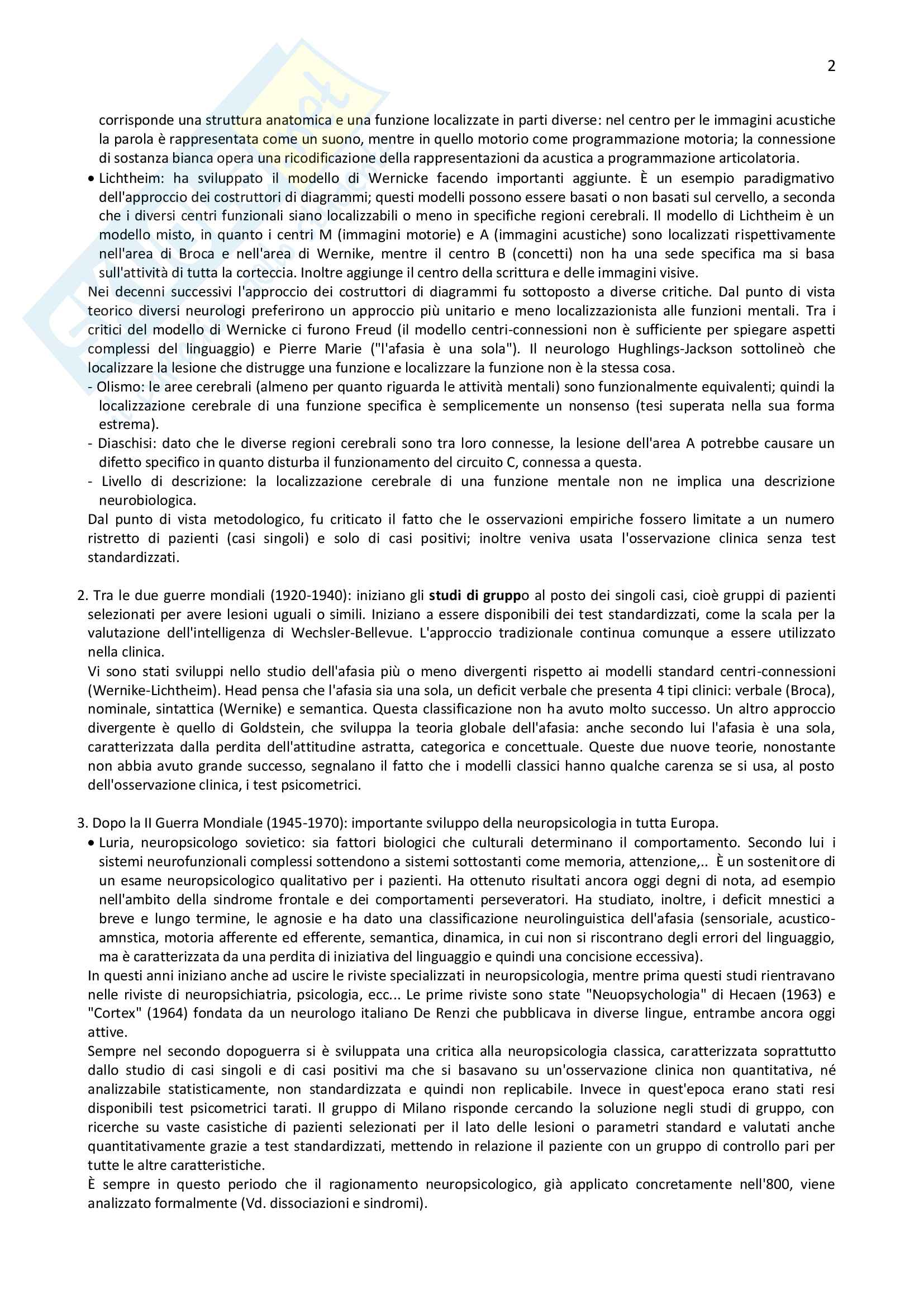 """Riassunto dell'esame di Neuropsicologica (Vallar e Papagno), libro consigliato """"Manuale di Neuropsicologia"""" Pag. 2"""